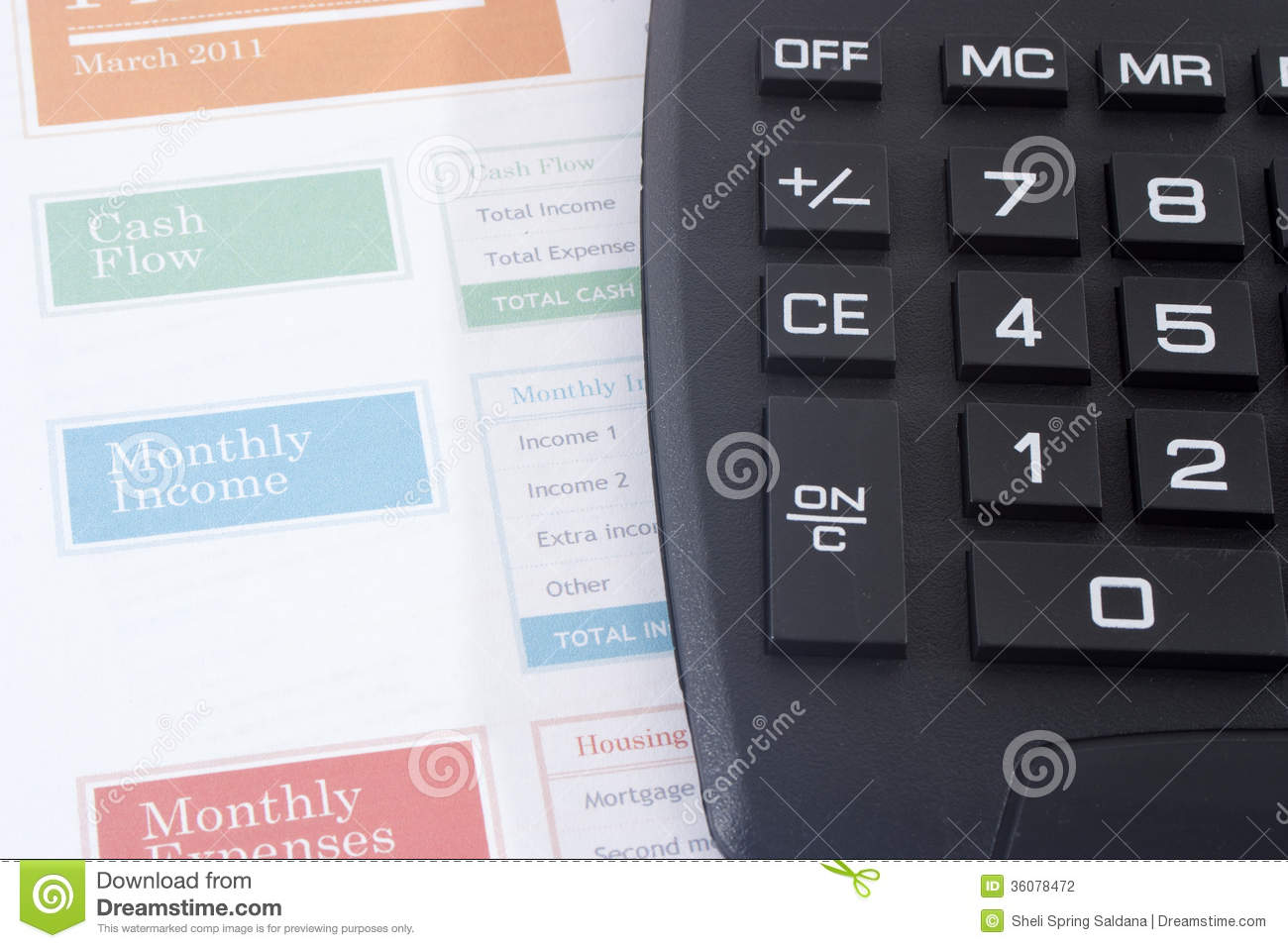 budget planner with black calculator stock photo image of chart