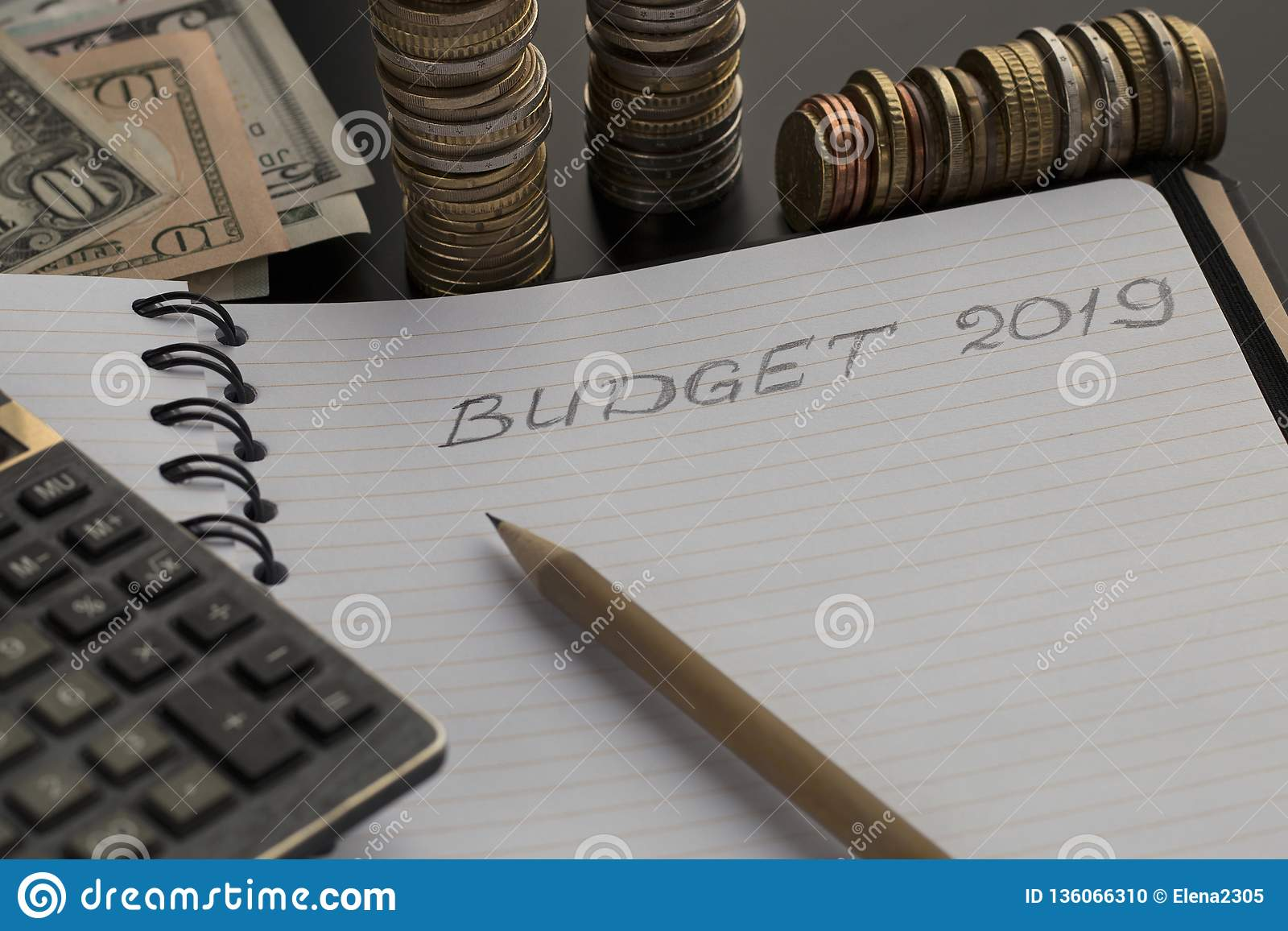 Budget planning concept. Notepad with Budget 2019 text