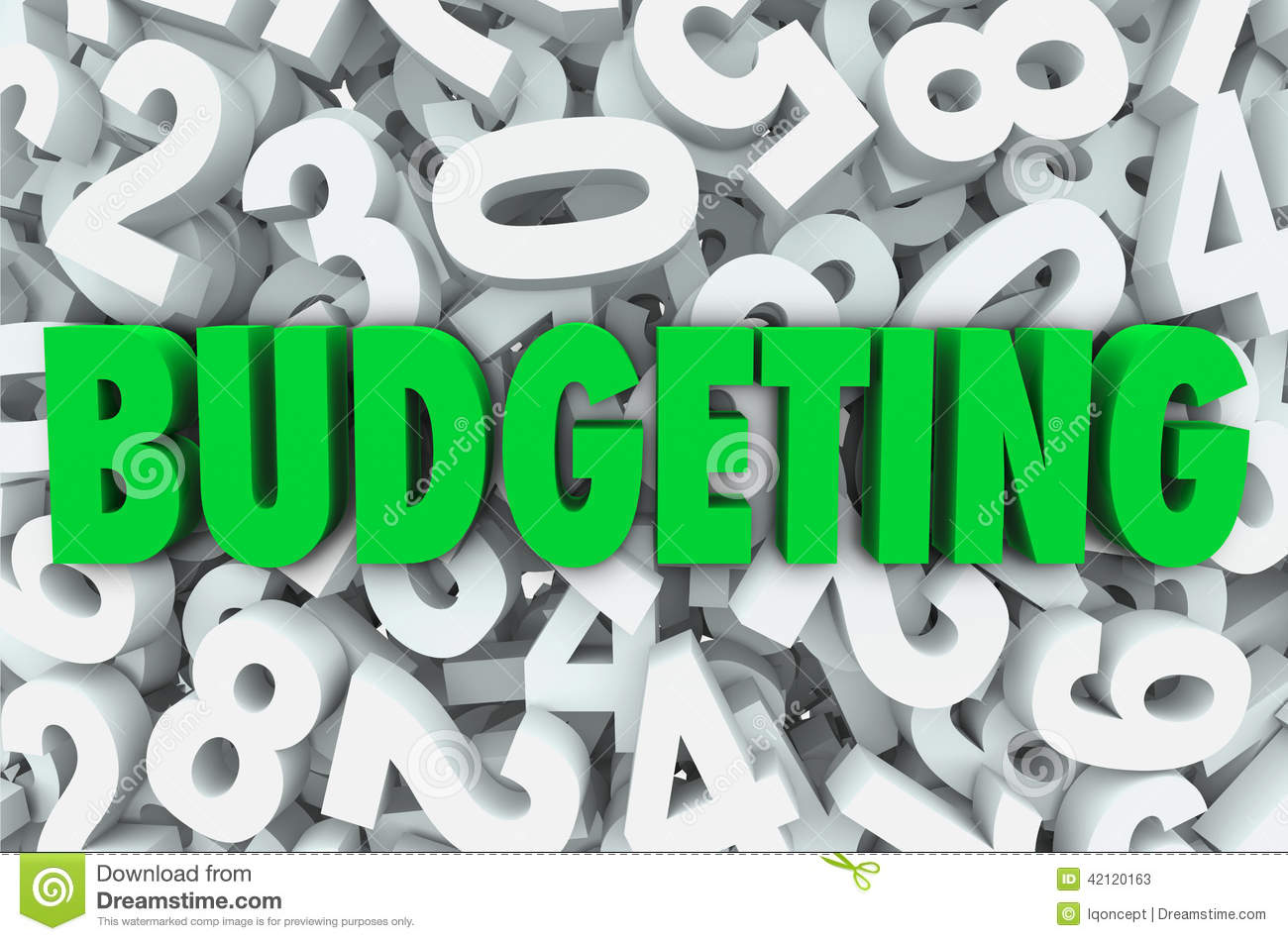 budgeting 3d word numbers background financial money plan stock