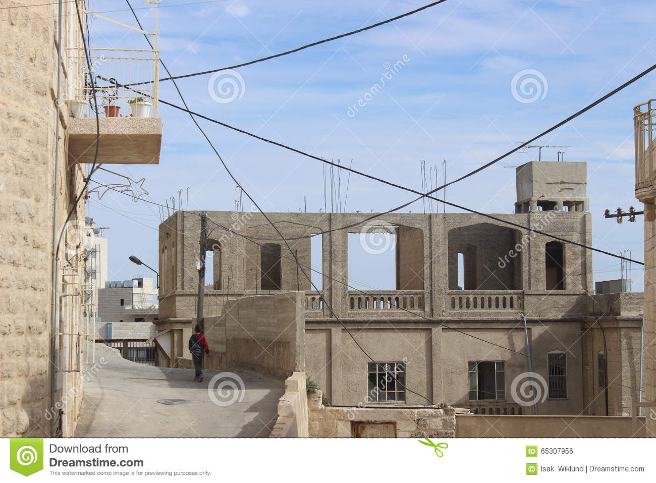 Fine Child Walking Past Buildings Under Construction In Bethlehem Wiring Digital Resources Timewpwclawcorpcom
