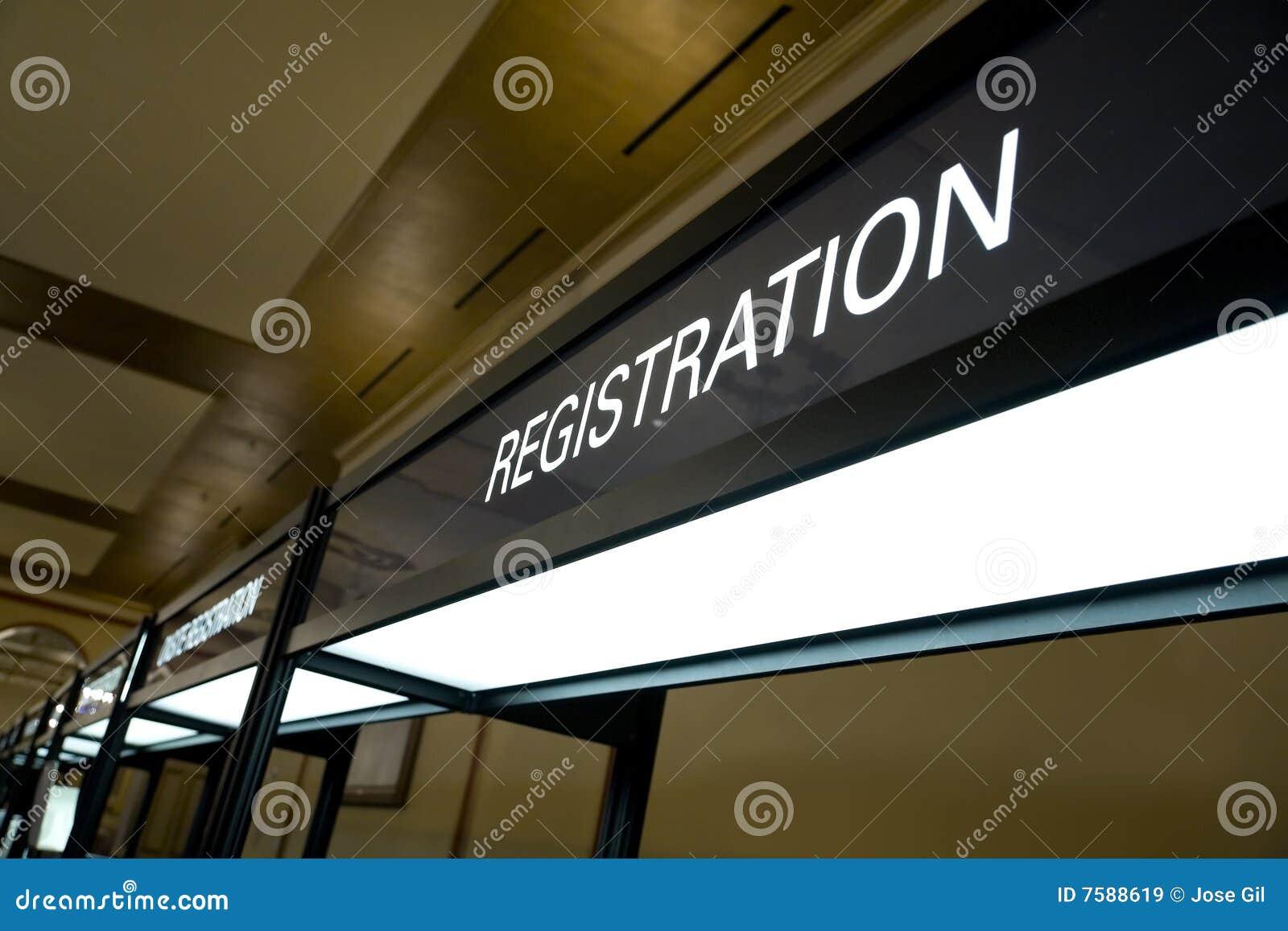 Budka rejestraci znak
