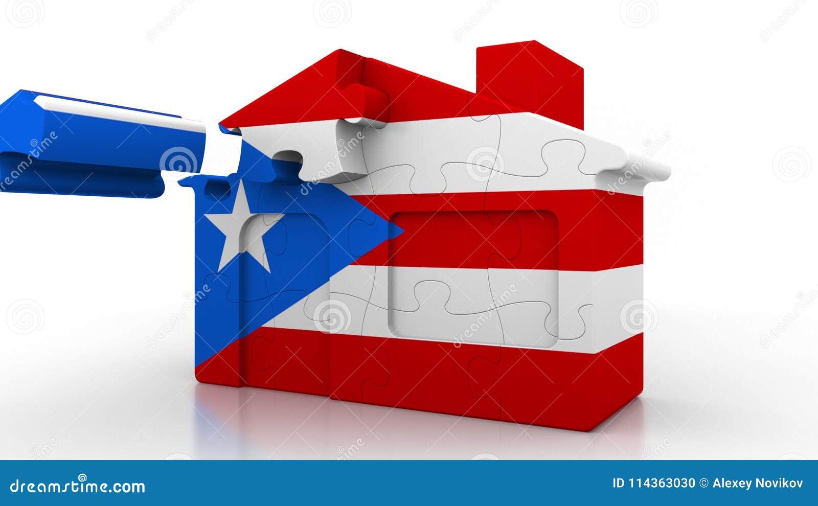 Budować łamigłówki Domową Uwypukla Flaga Puerto Rico Emigracja