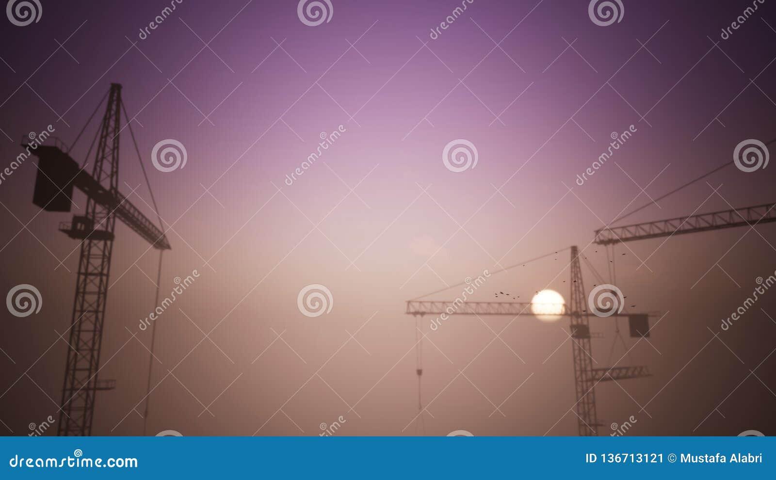 Budowa żurawie w zmierzch scenie z omijaniem samolot 1