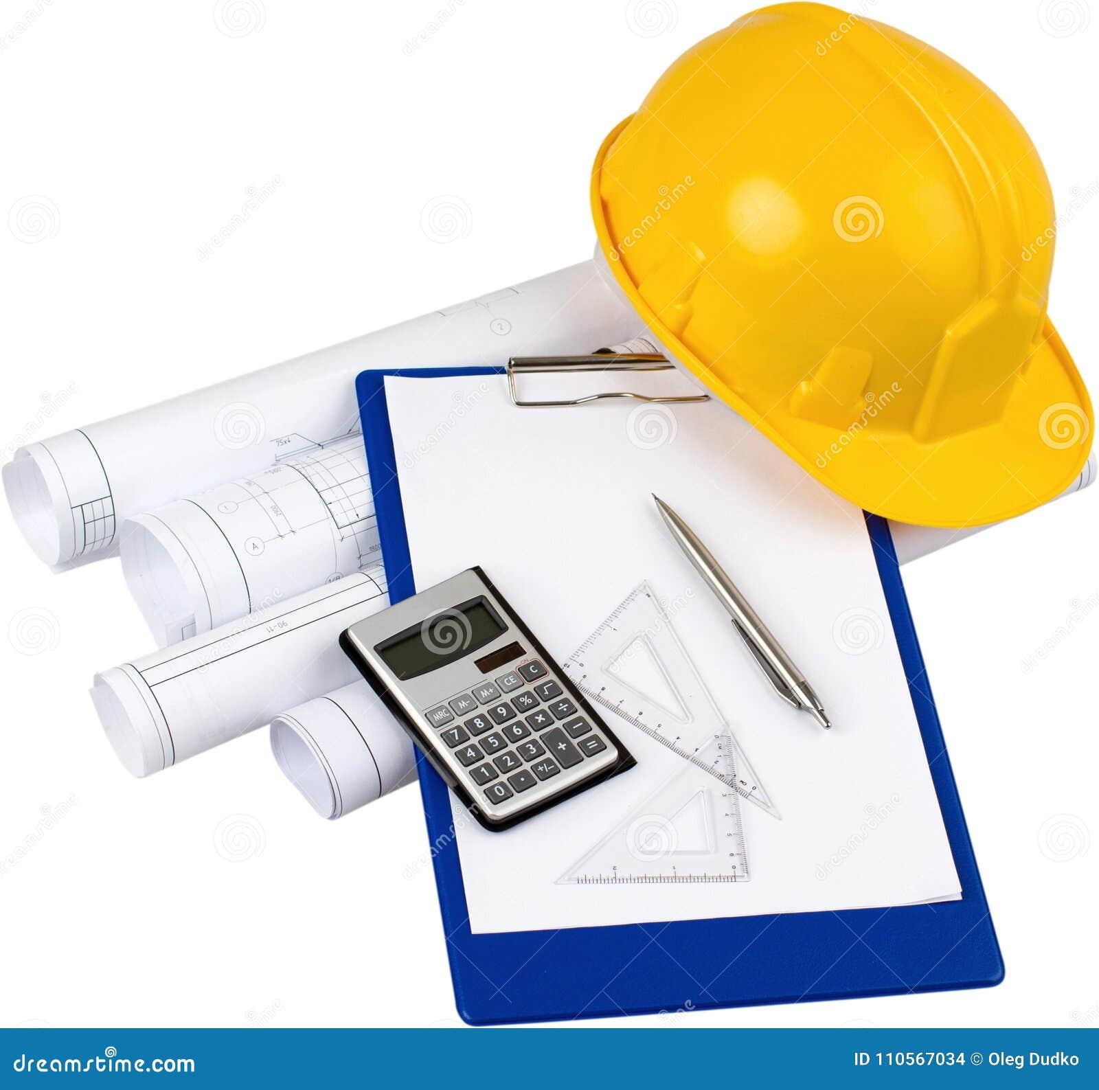 Budowa plany, kalkulator, Setquares, pióro