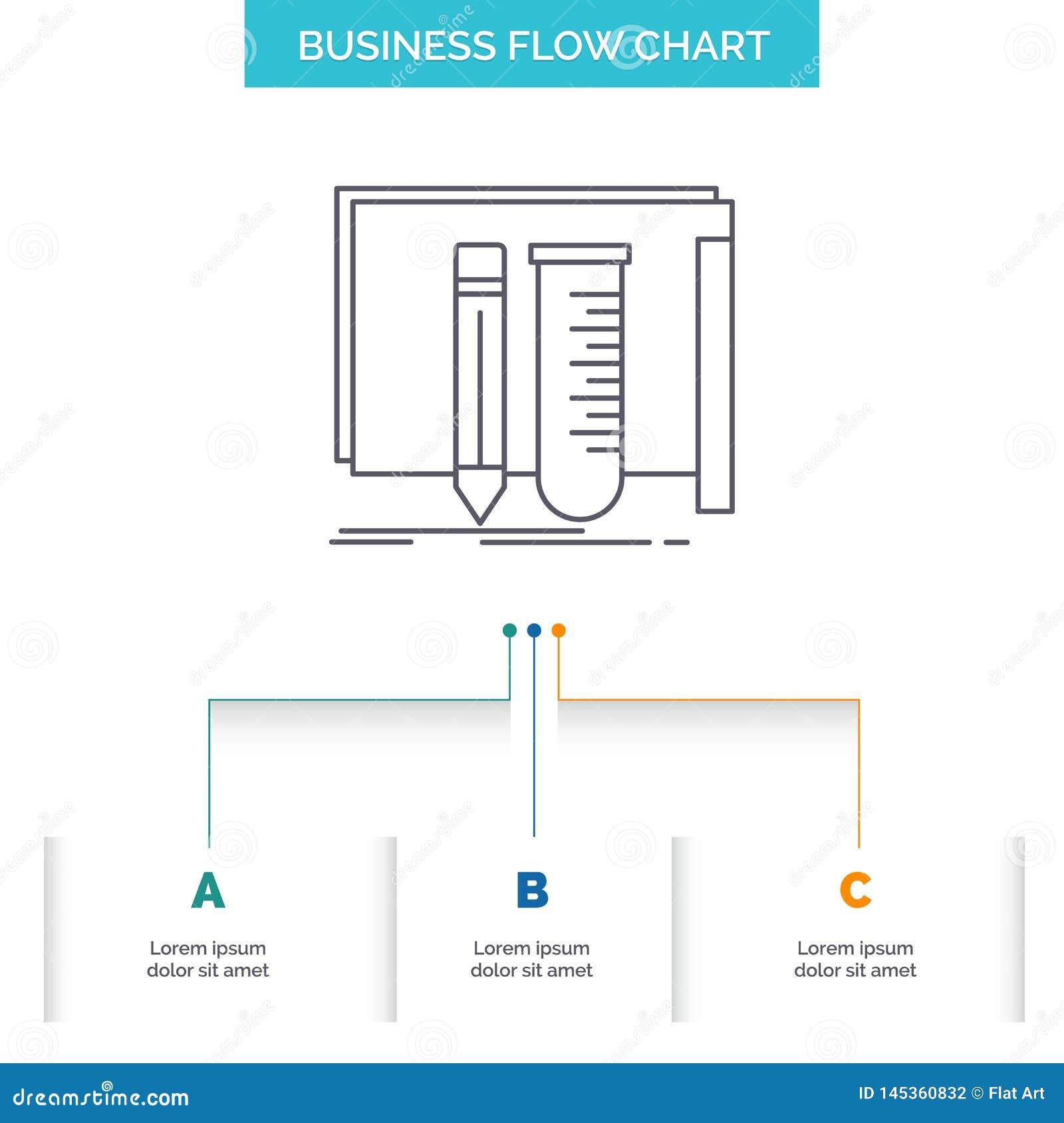 Budowa, wyposażenie, bajeczny, lab, narzędzie Spływowej mapy Biznesowy projekt z 3 krokami Kreskowa ikona Dla prezentacji t?a sza