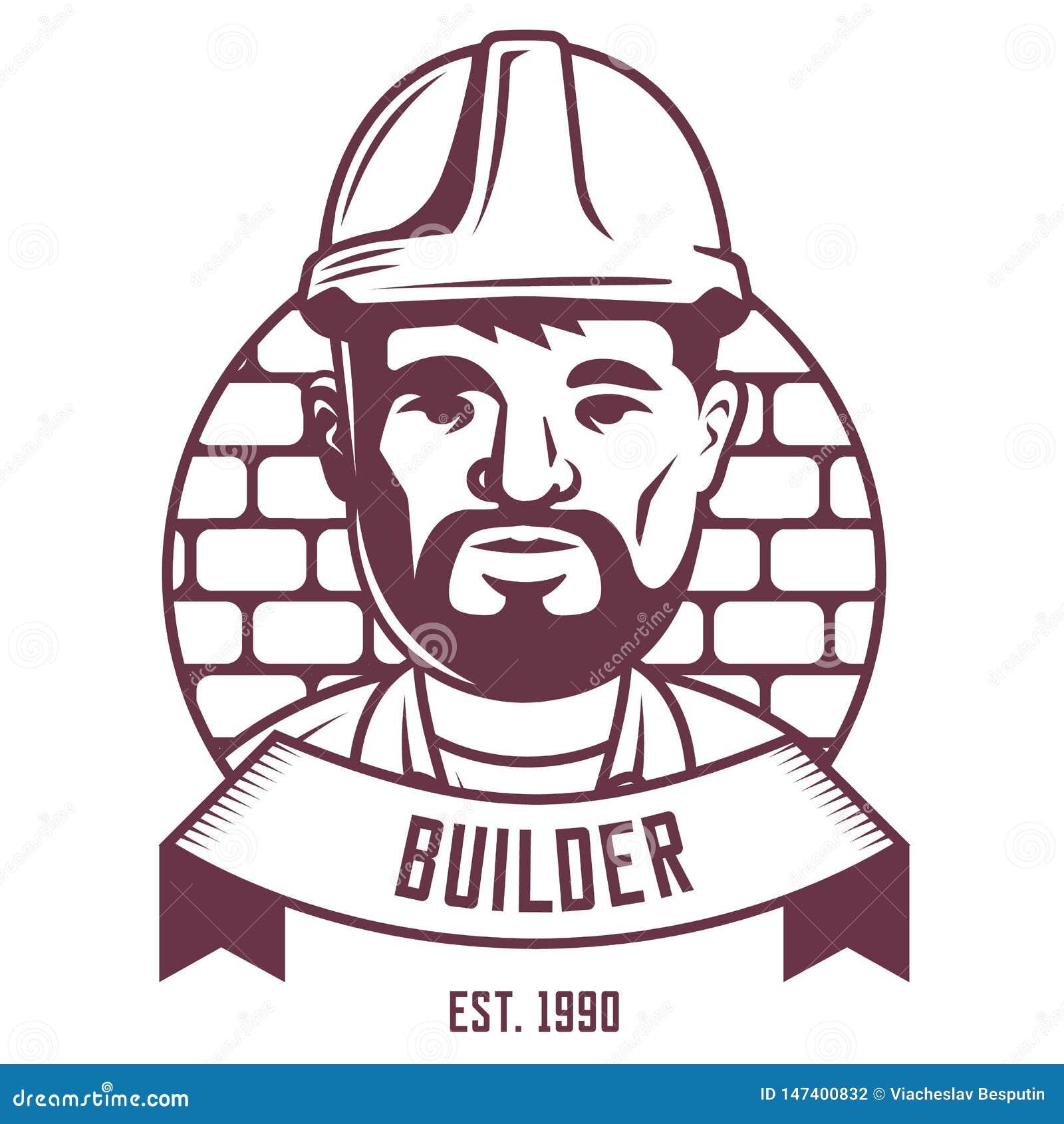 Budowniczego emblemat na ściany z cegieł tle