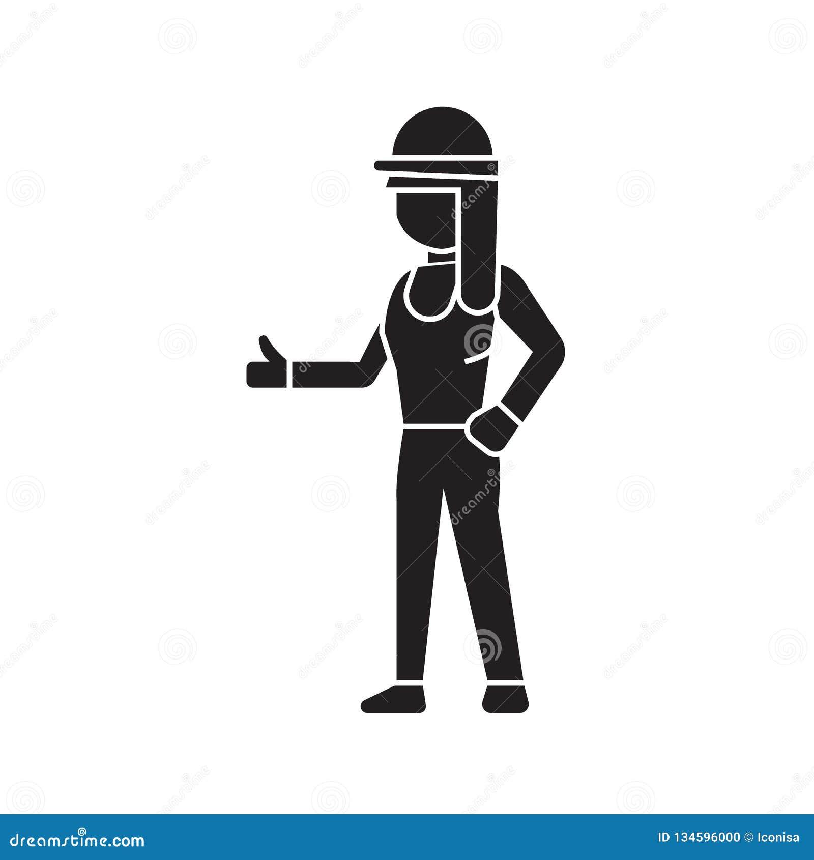 Budowniczy kobiety czerni pojęcia wektorowa ikona Budowniczy kobiety płaska ilustracja, znak