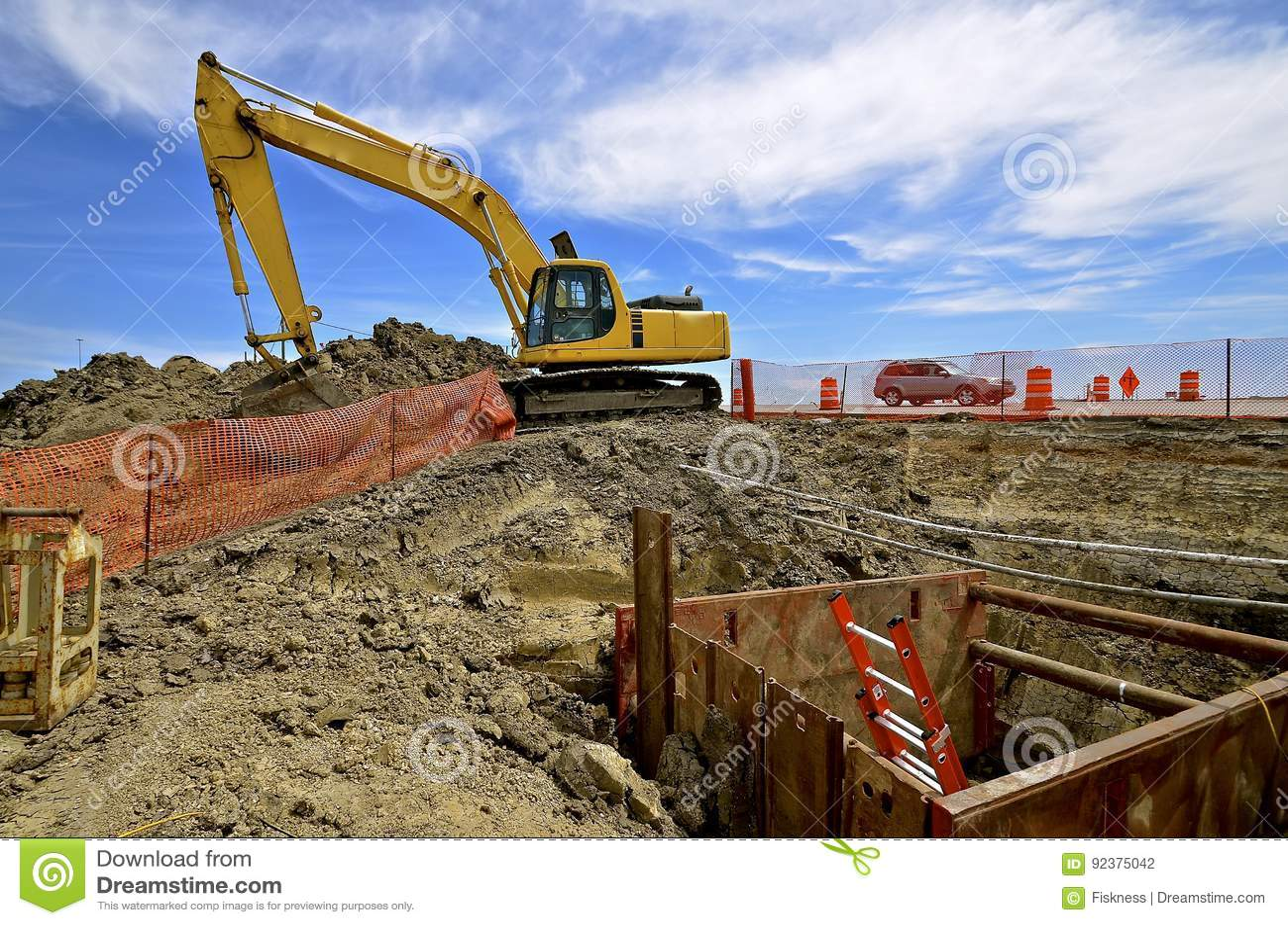 Budowy drogi miejsce z wykopywać maszynę