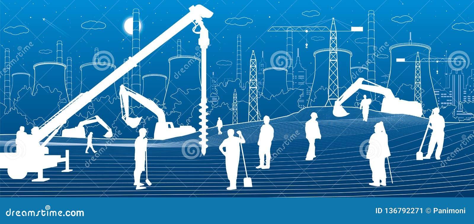Budowy roślina Ludzie pracować Przemysłu maszyneria, żurawie i buldożery, Infrastruktura miastowi budynki ilustracyjni wektor