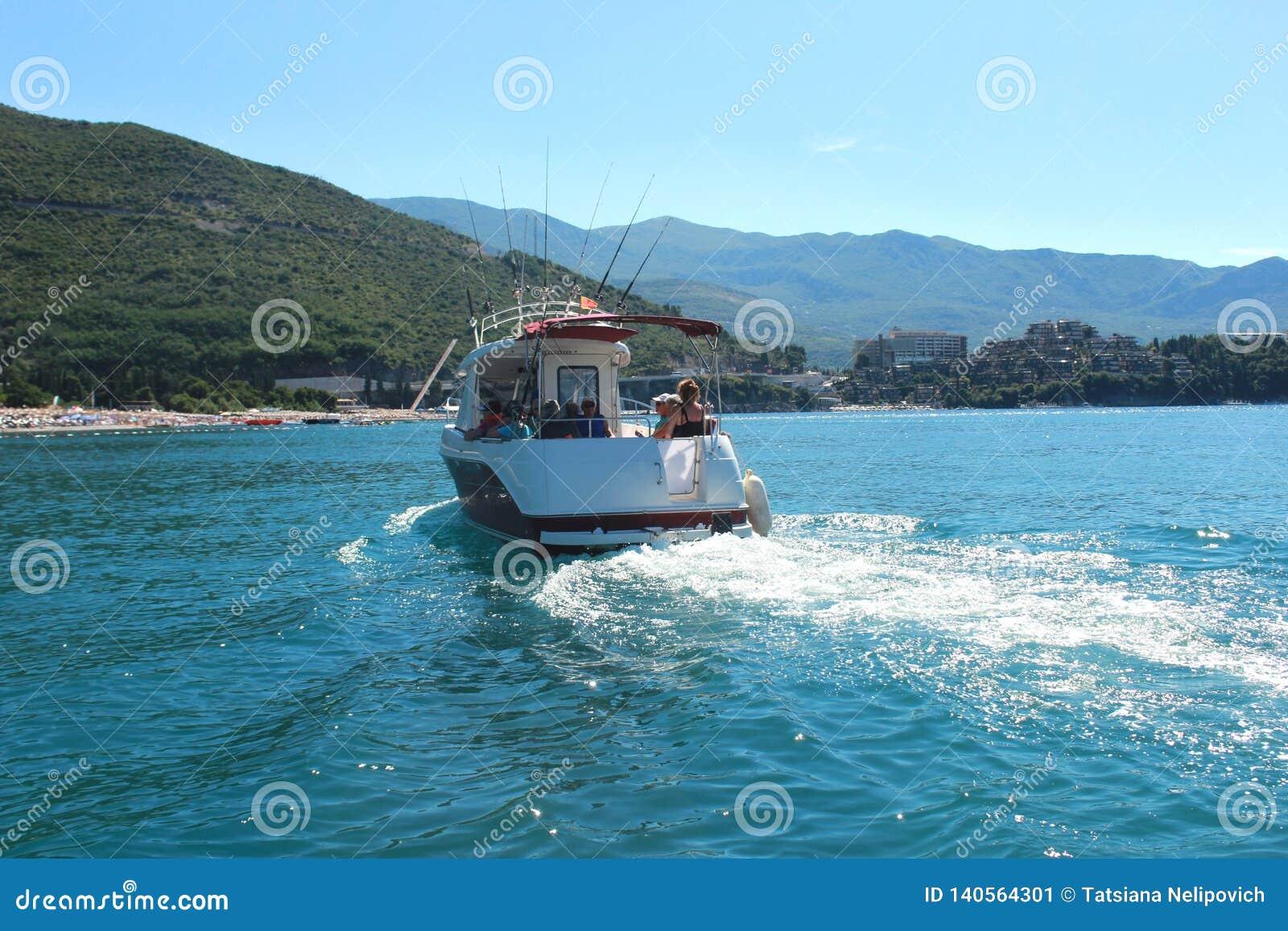 Budva Montenegro - 24.07.2018. Editorial. Speedboat sailing in sea