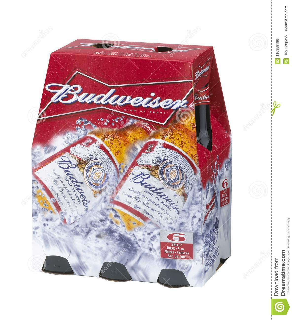 BUDWEISER BEER BOTTLE SIX PACK Editorial Photo - Image of