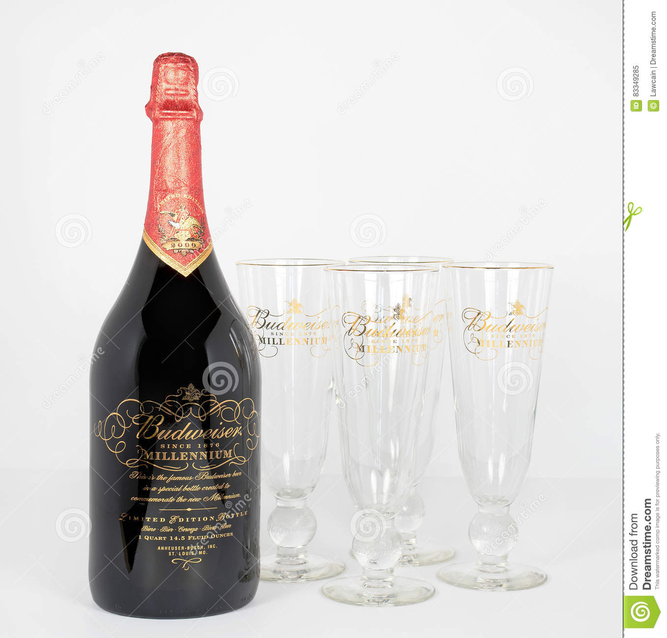 Budweiser Limited Edition Bottle And Four Glasses