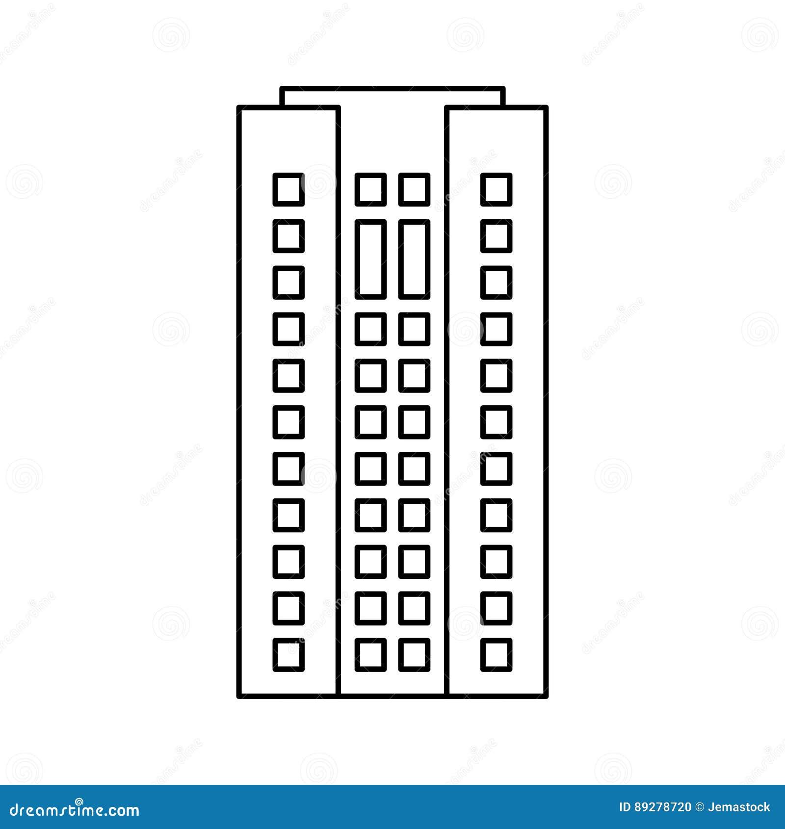 Budynek architektury drapacza chmur mieszkaniowy kontur