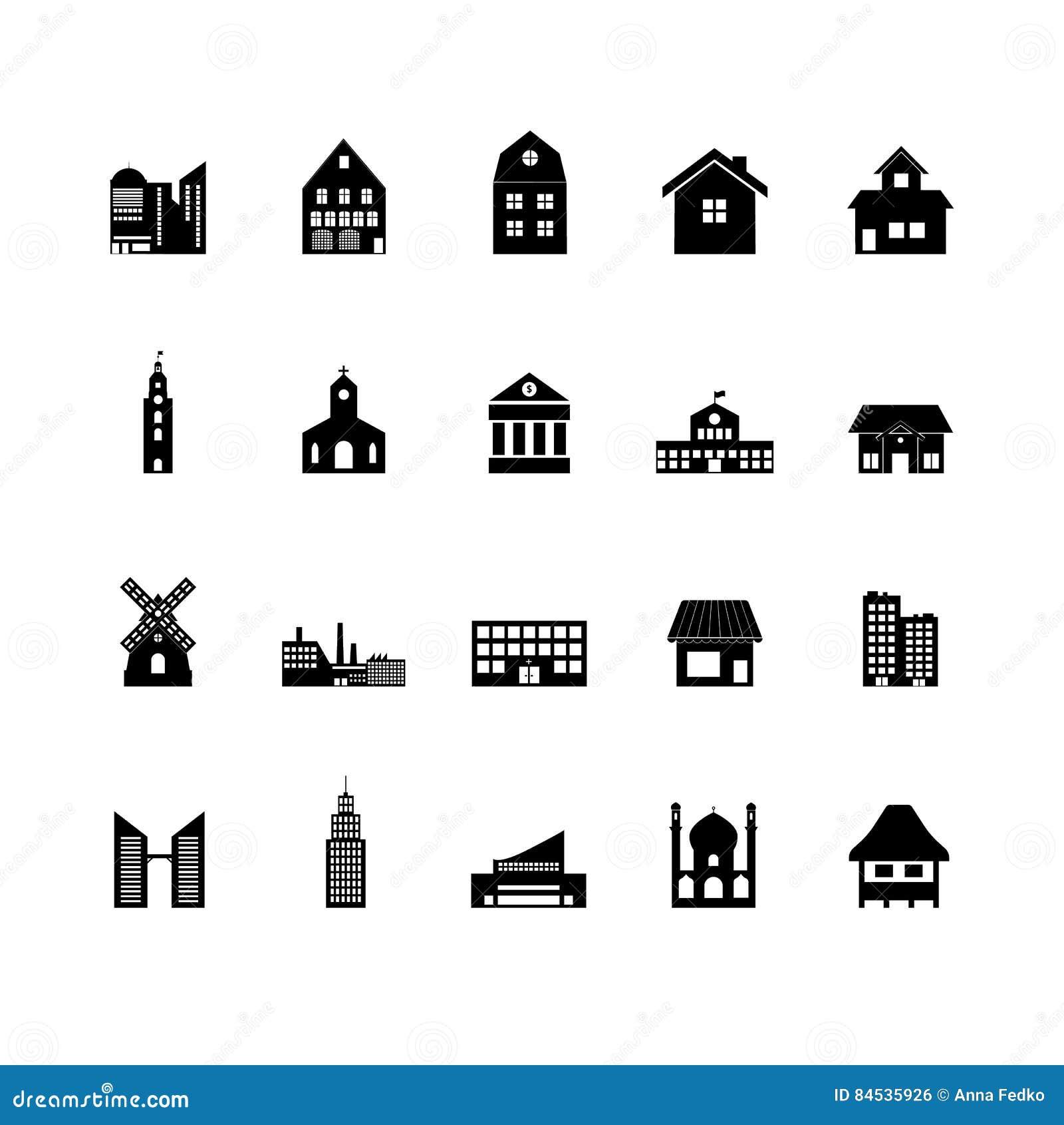 Budynek ikony set