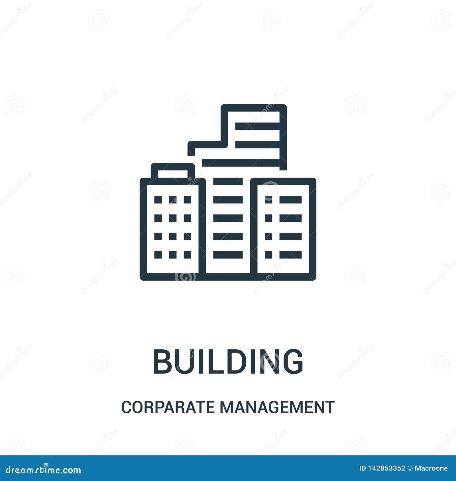 Budynek ikony wektor od korporacyjnego zarządzania kolekcji Cienka kreskowa budynku konturu ikony wektoru ilustracja Liniowy symb