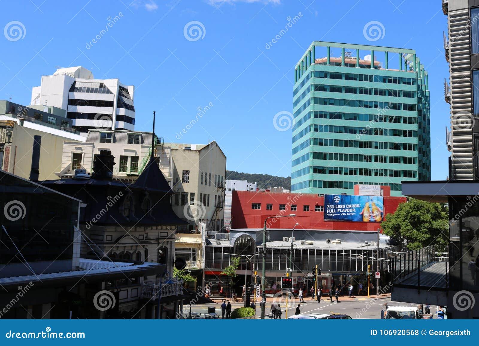 Budynki w centrum miasta, Wellington, Nowa Zelandia