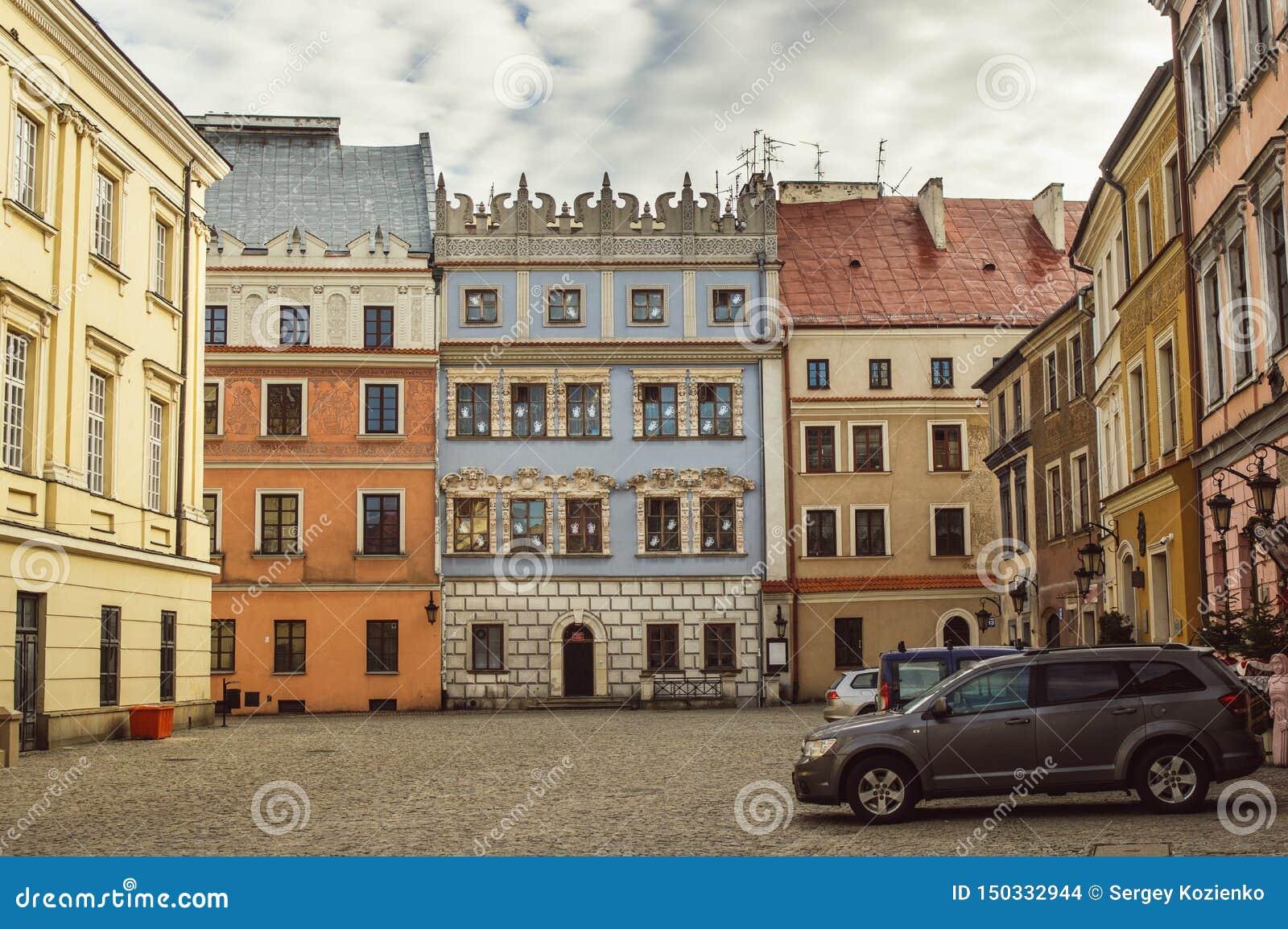 Budynki w starym centrum Lublin, Polska