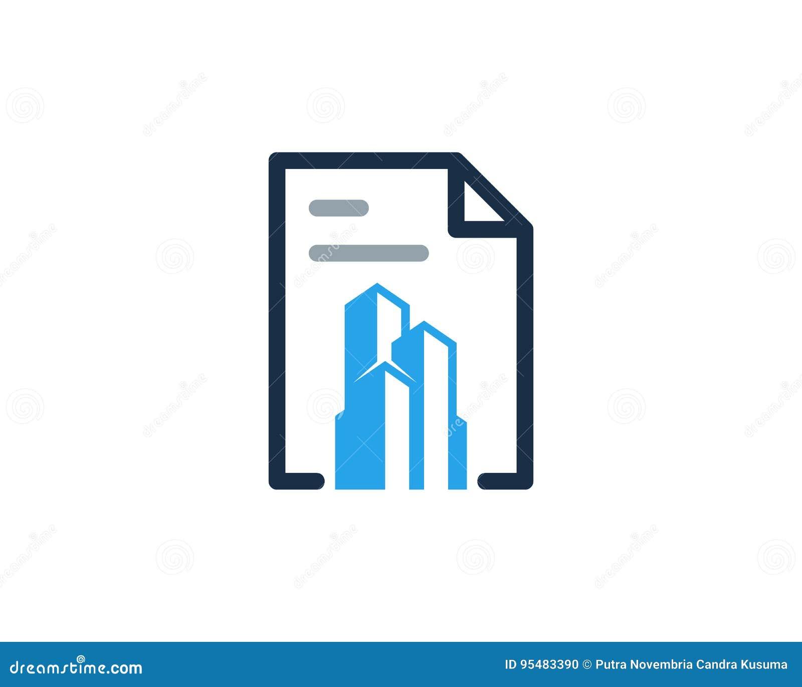 Budynku dokumentu ikony loga projekta Biurowy element