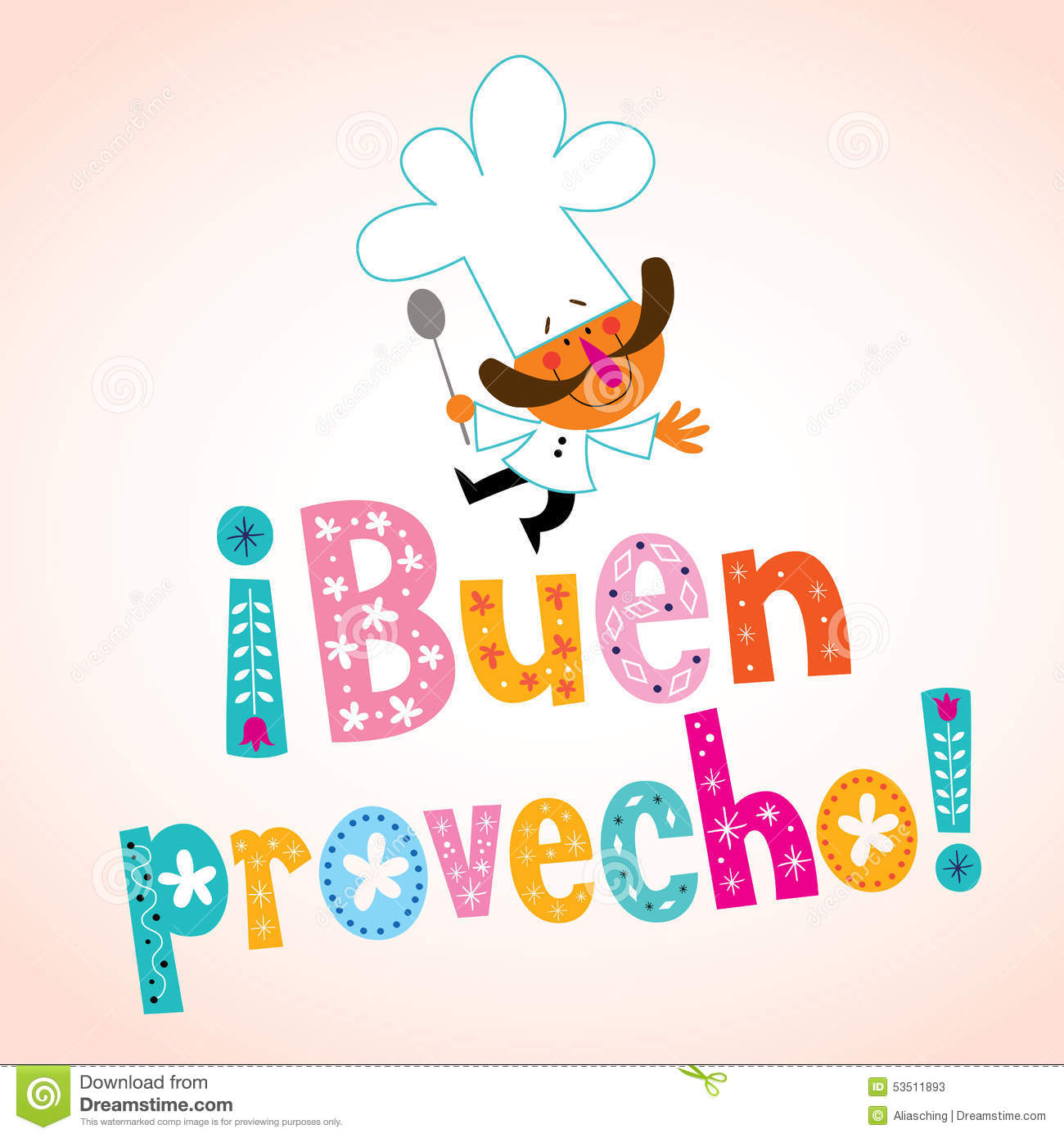 Buen Provecho Spanish Decorative Type With Chef Character Stock Vector ...