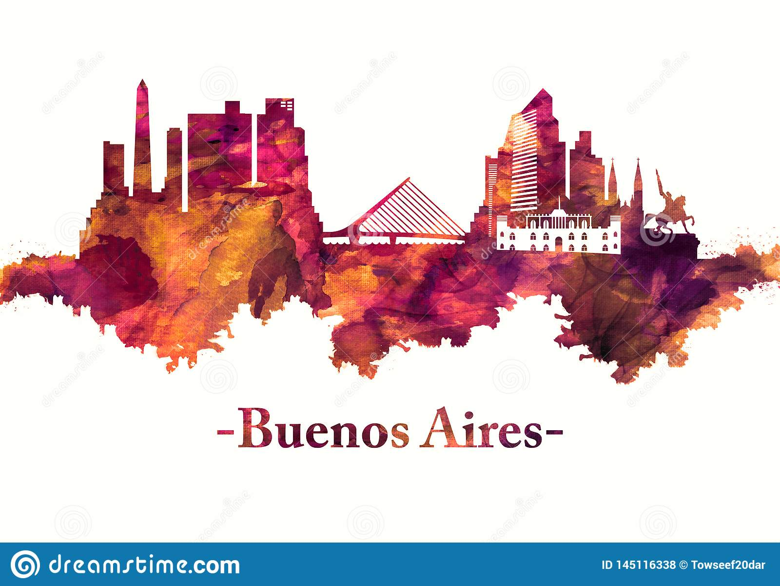 Buenos Aires Argentina horisont i rött
