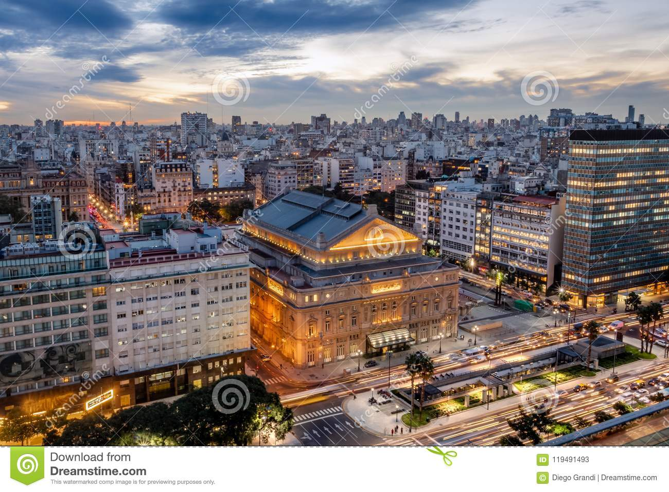 Aerial view of Teatro Colon Columbus Theatre and 9 de Julio Avenue at sunset - Buenos Aires, Argentina