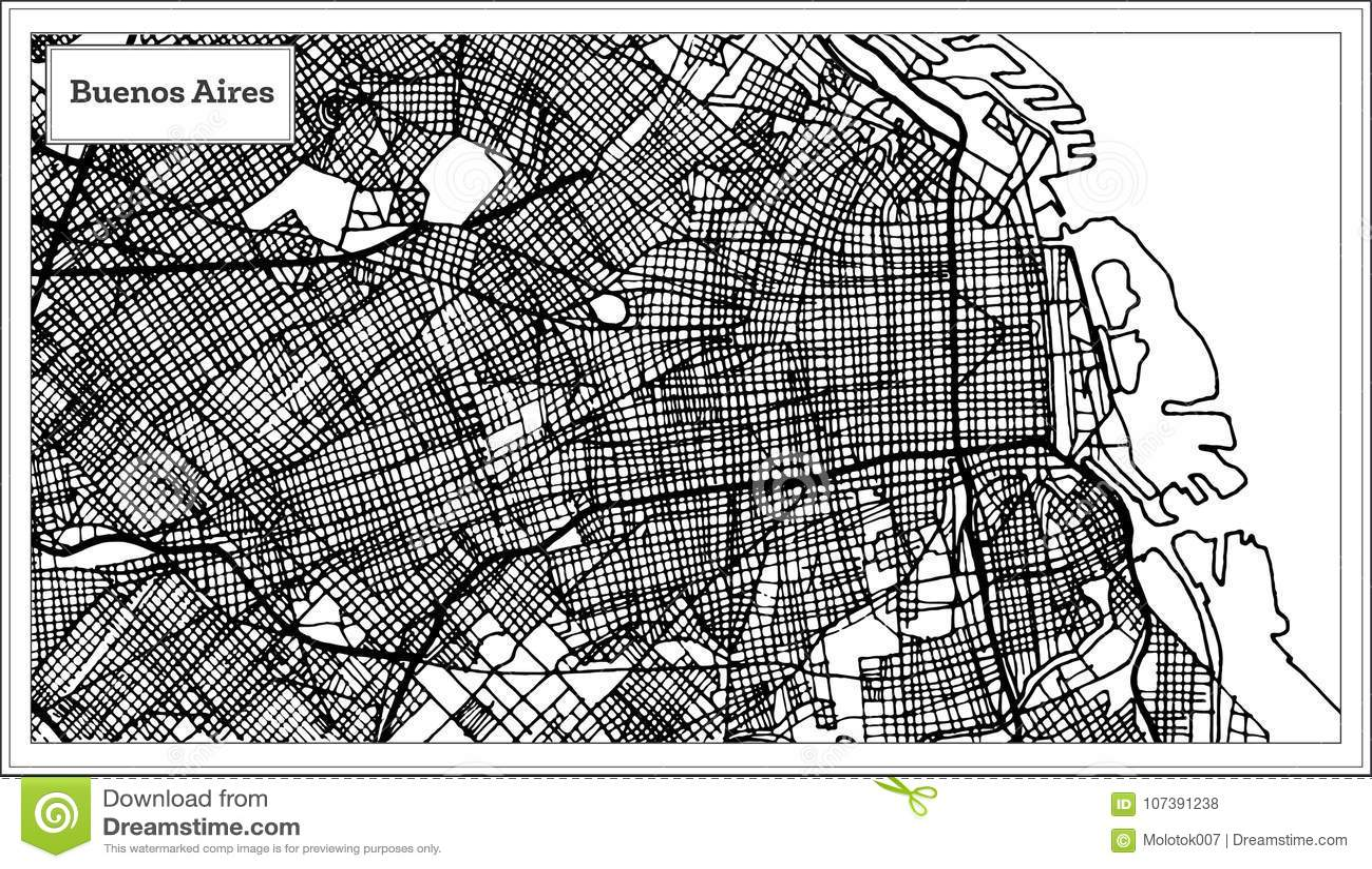 Buenos Aires Argentyna miasta mapa w Czarny I Biały kolorze