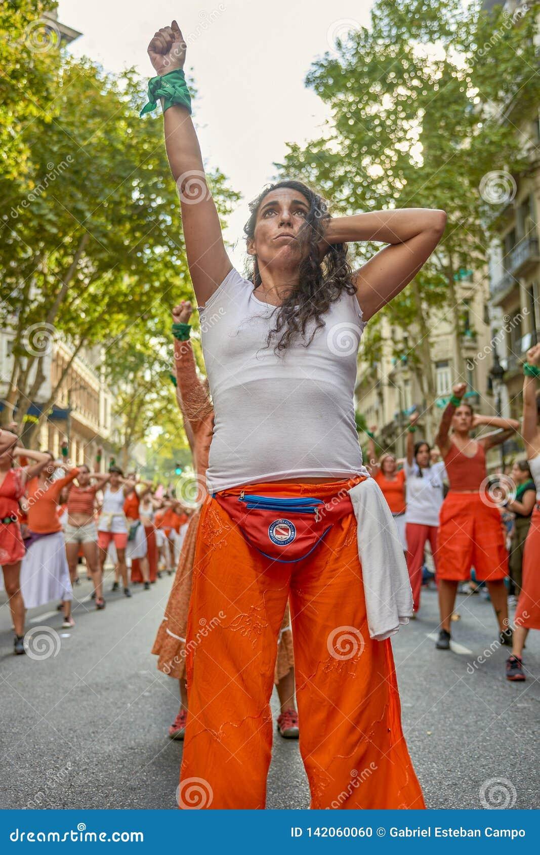 Buenos Aires, C A B A , Argentyna, Marzec - 8, 2019: 8M protestacyjne kobiety