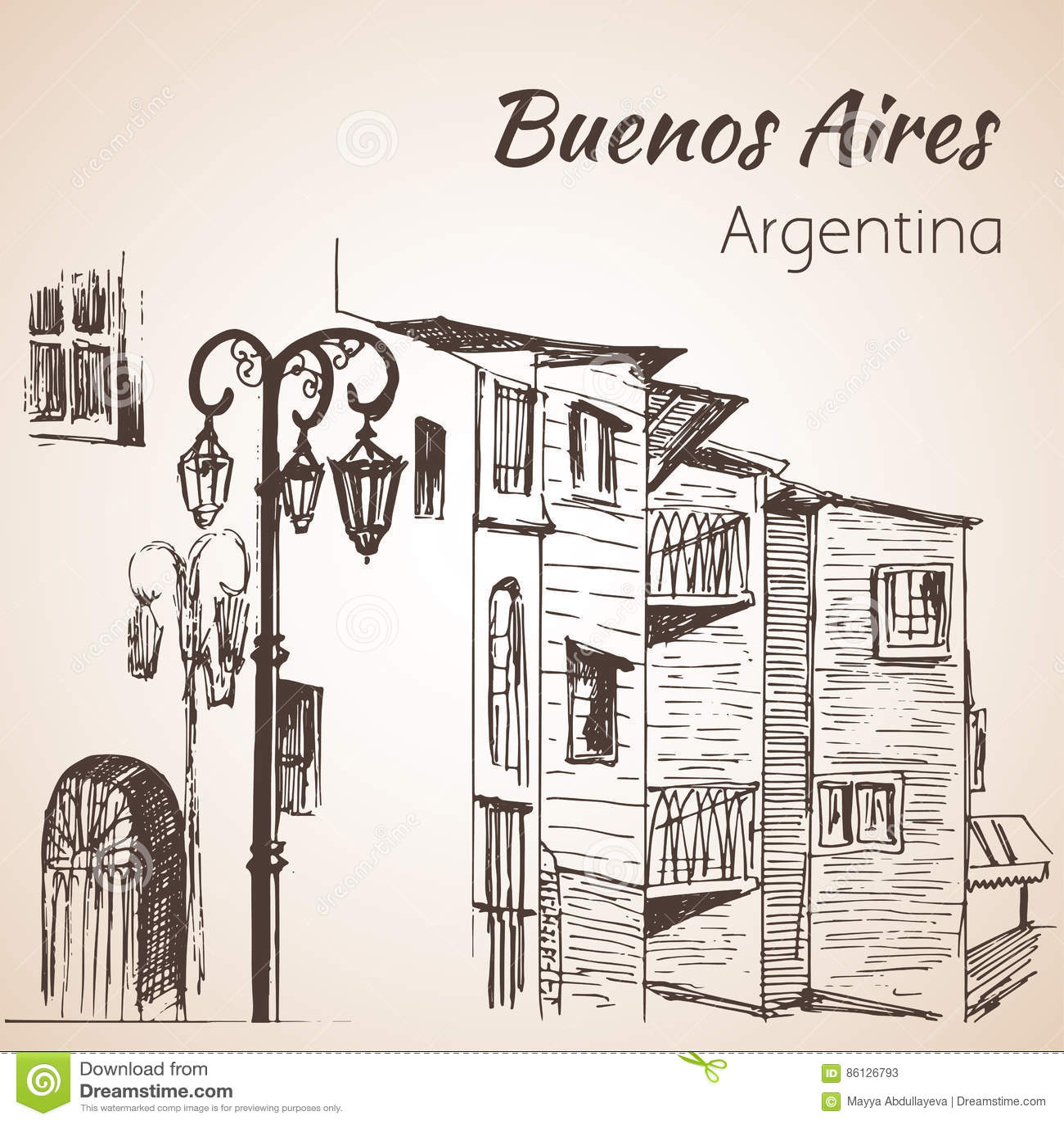 Buenos Aires cityscape Caminito arenaceous skissa