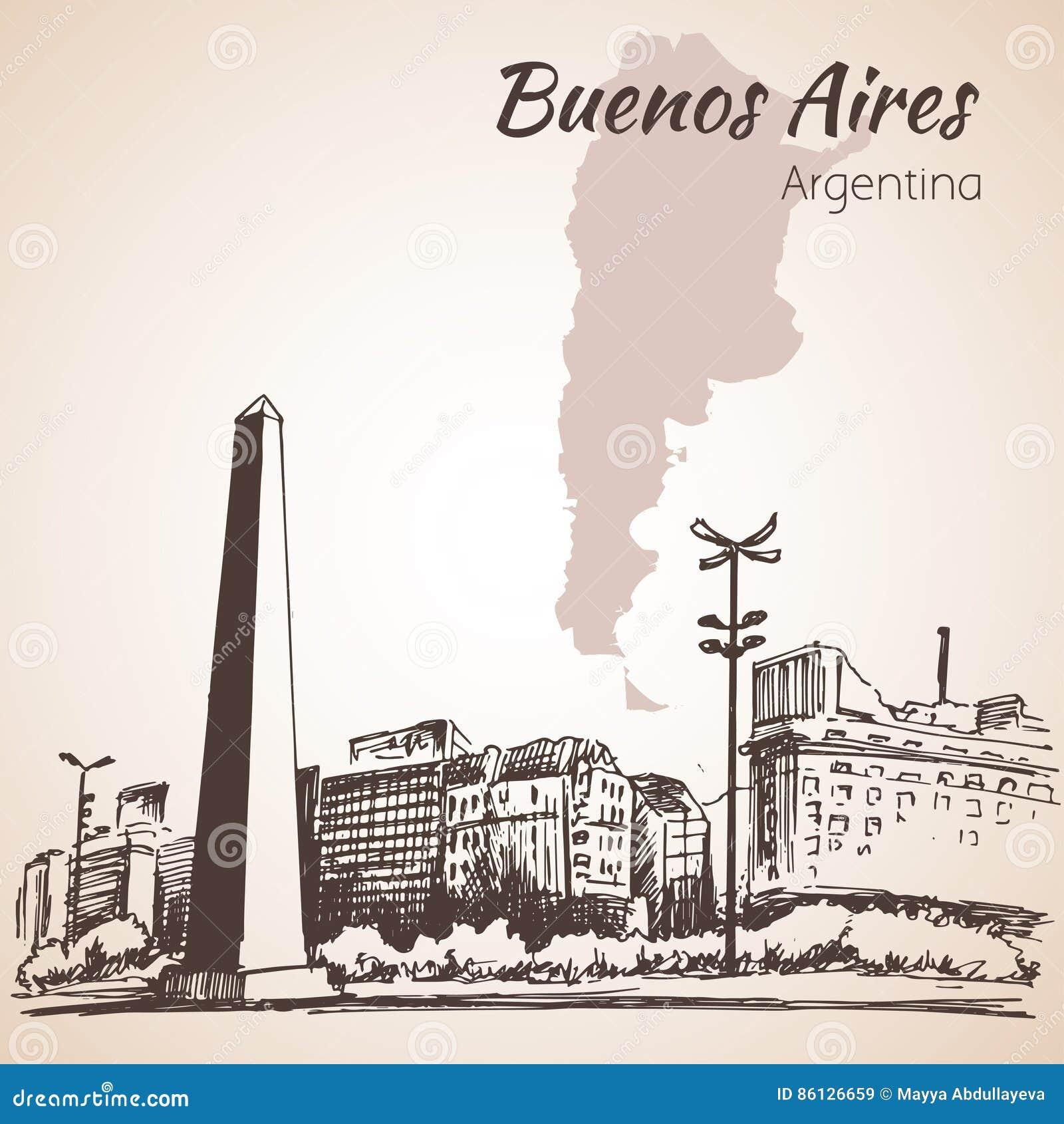 Buenos Aires cityscape med obelisken arenaceous skissa