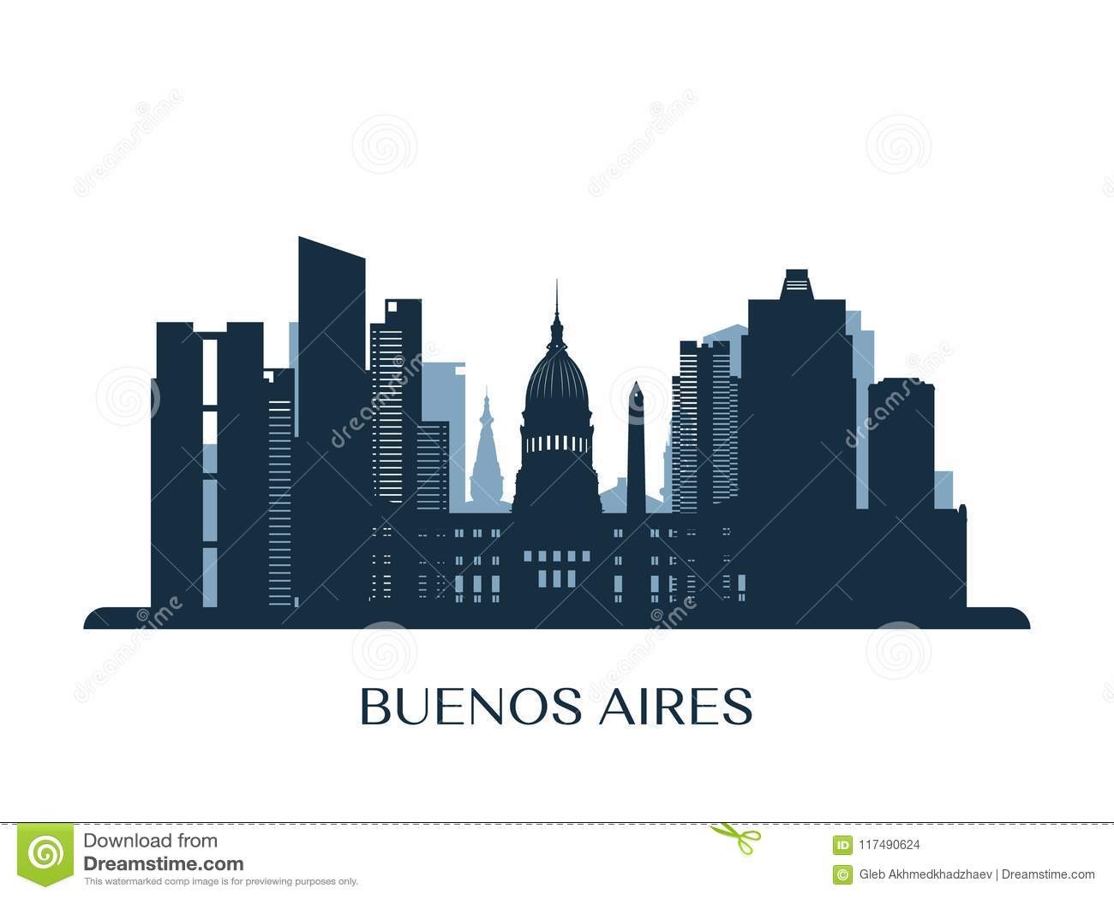 Buenos Aires horisont, monokrom kontur