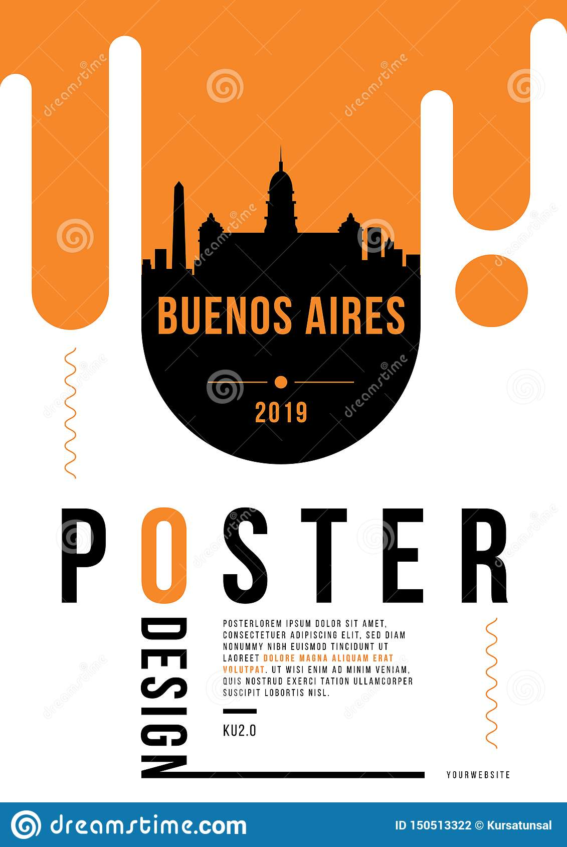Buenos Aires Modern Poster Design with Vector Linear Skyline