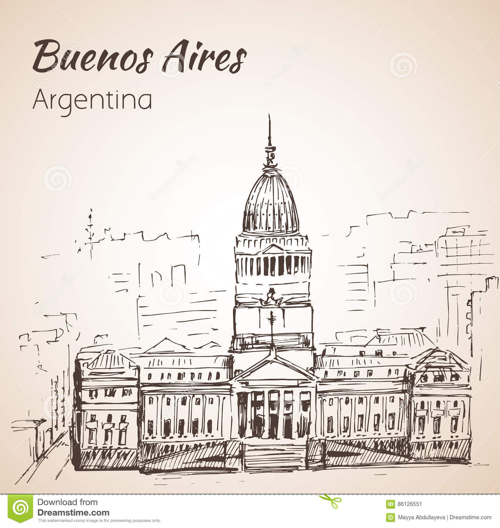 Buenos Aires Puerto Madero på natten arenaceous skissa På vitbac
