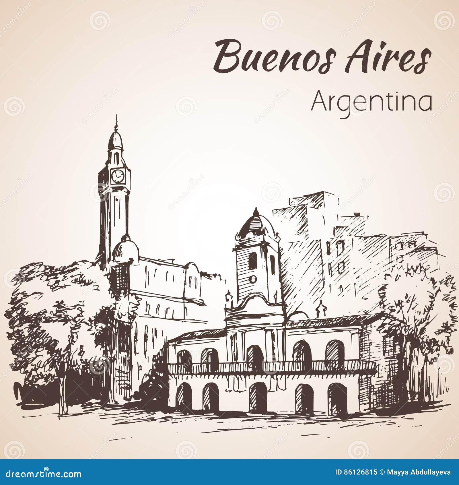 Buenos Aires stadsgata och fyrkant arenaceous skissa