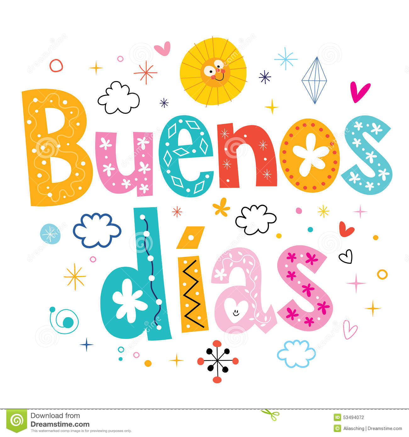 Buenos Dias Good Day Good Morning In Spanish Stock Photo Image Of