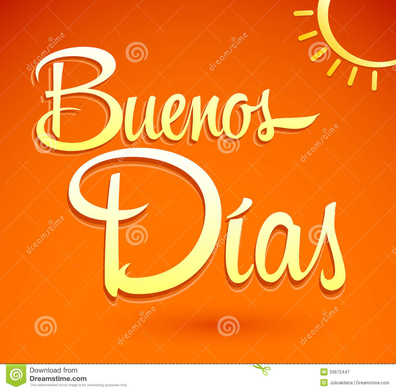 Good Morning In Spanish Is What : Buenos dias good morning spanish text lettering royalty