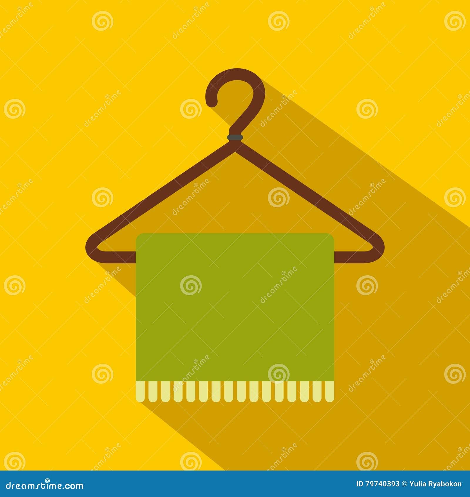 Bufanda verde en icono plano de la capa-suspensión