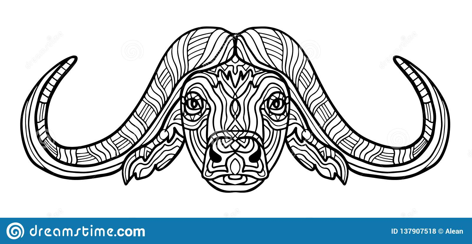 Buffalo Animal Coloring Book For Adults Raster Illustration ...