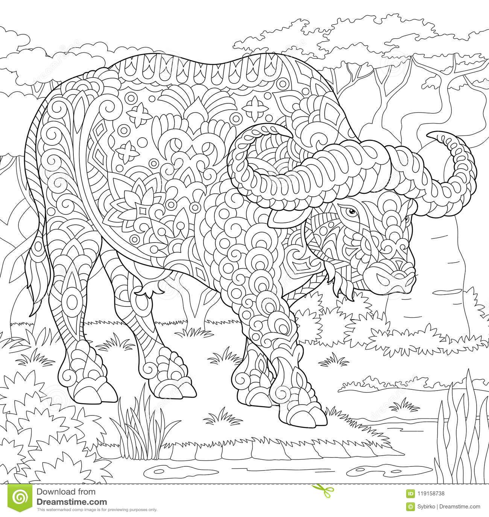 Zentangle Buffalo Bull Bison Stock Vector - Illustration of ...