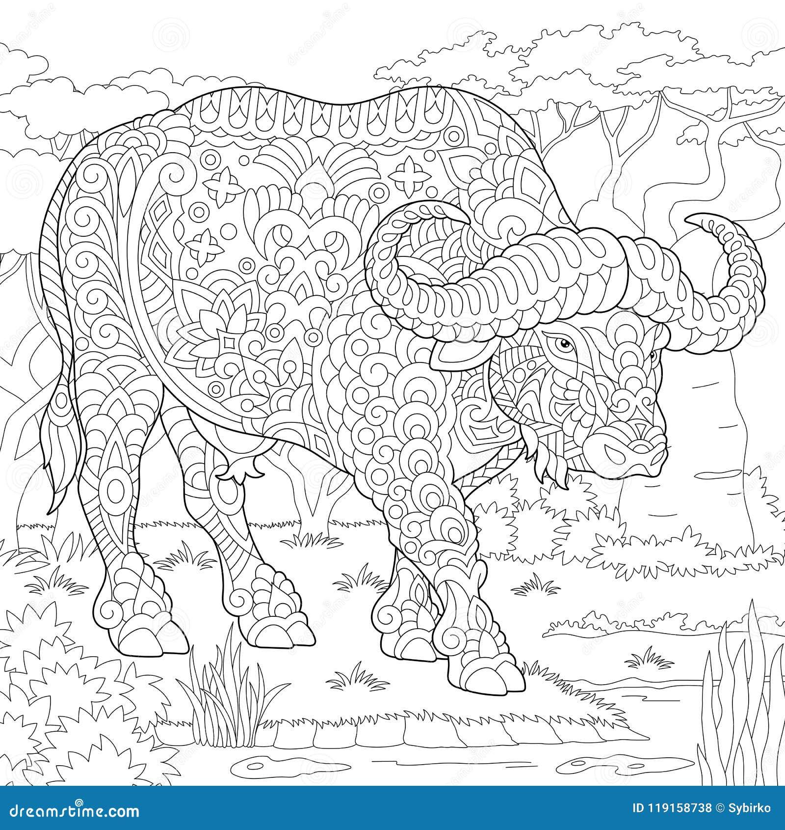 Download Zentangle Buffalo Bull Bison Stock Vector