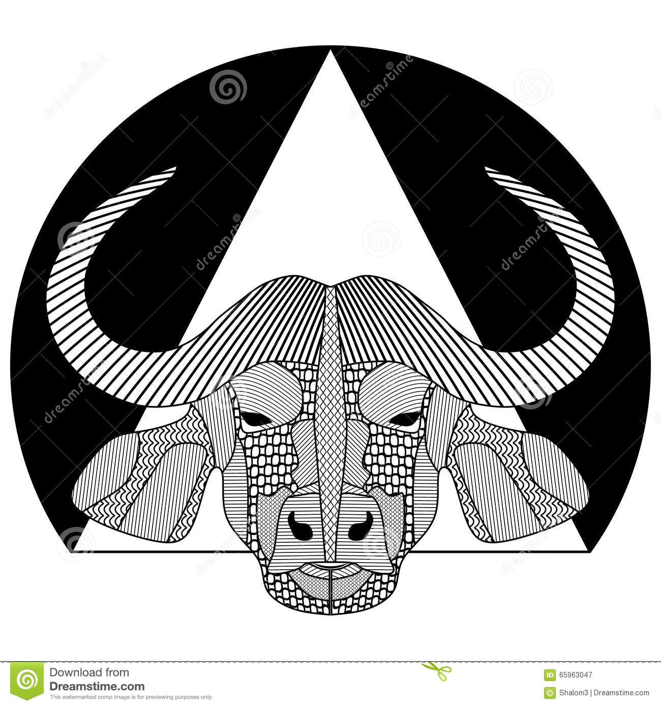 Buffalo Head, Black And White Symmetrical Drawing With