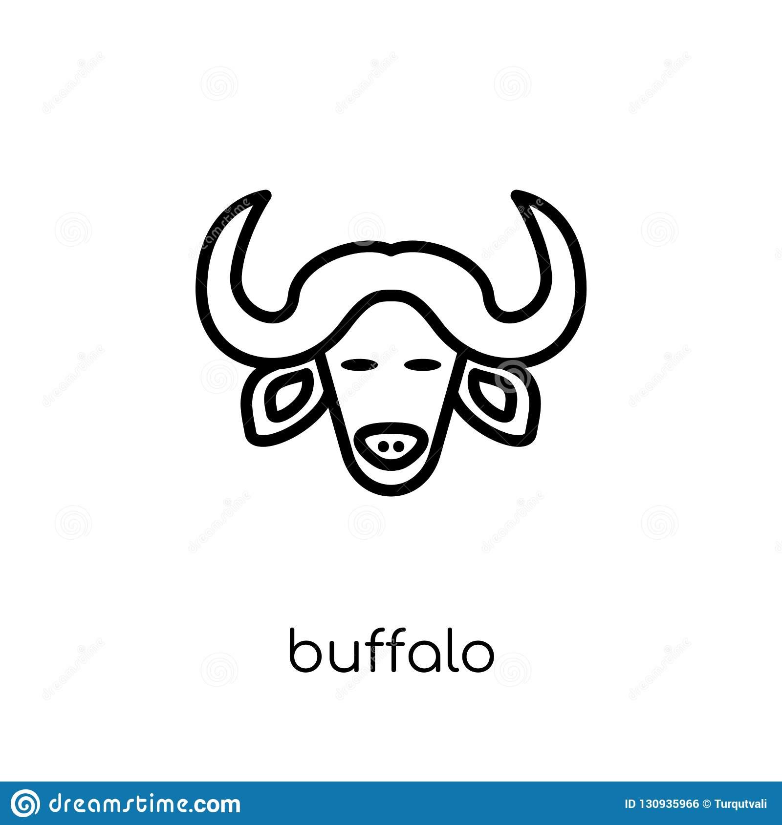 Buffalo Icon  Trendy Modern Flat Linear Vector Buffalo Icon