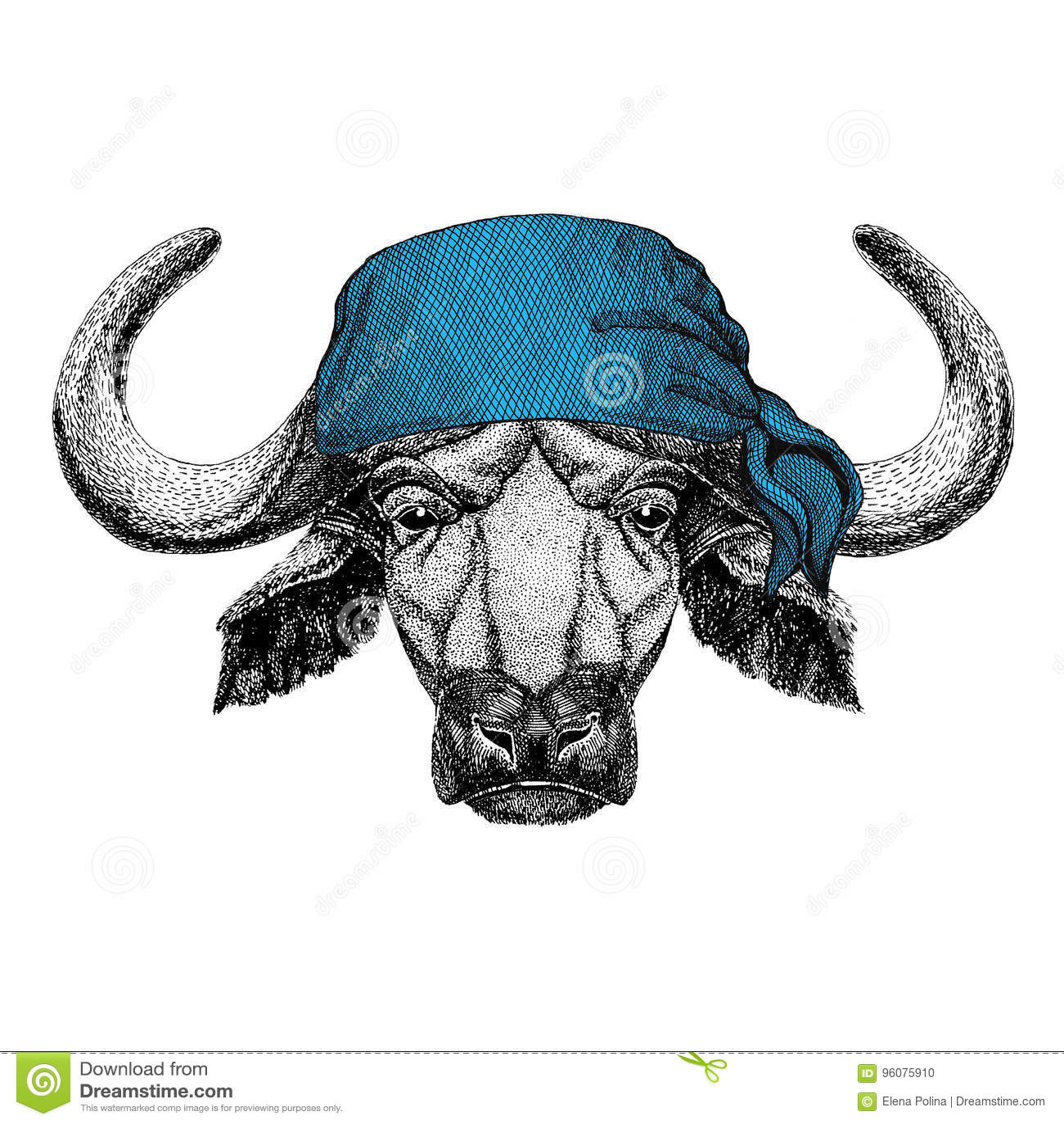 Buffalo, toro, bandana dell animale selvatico del bue o bandana o immagine d uso del bandanna per il pirata Seaman Sailor Biker M
