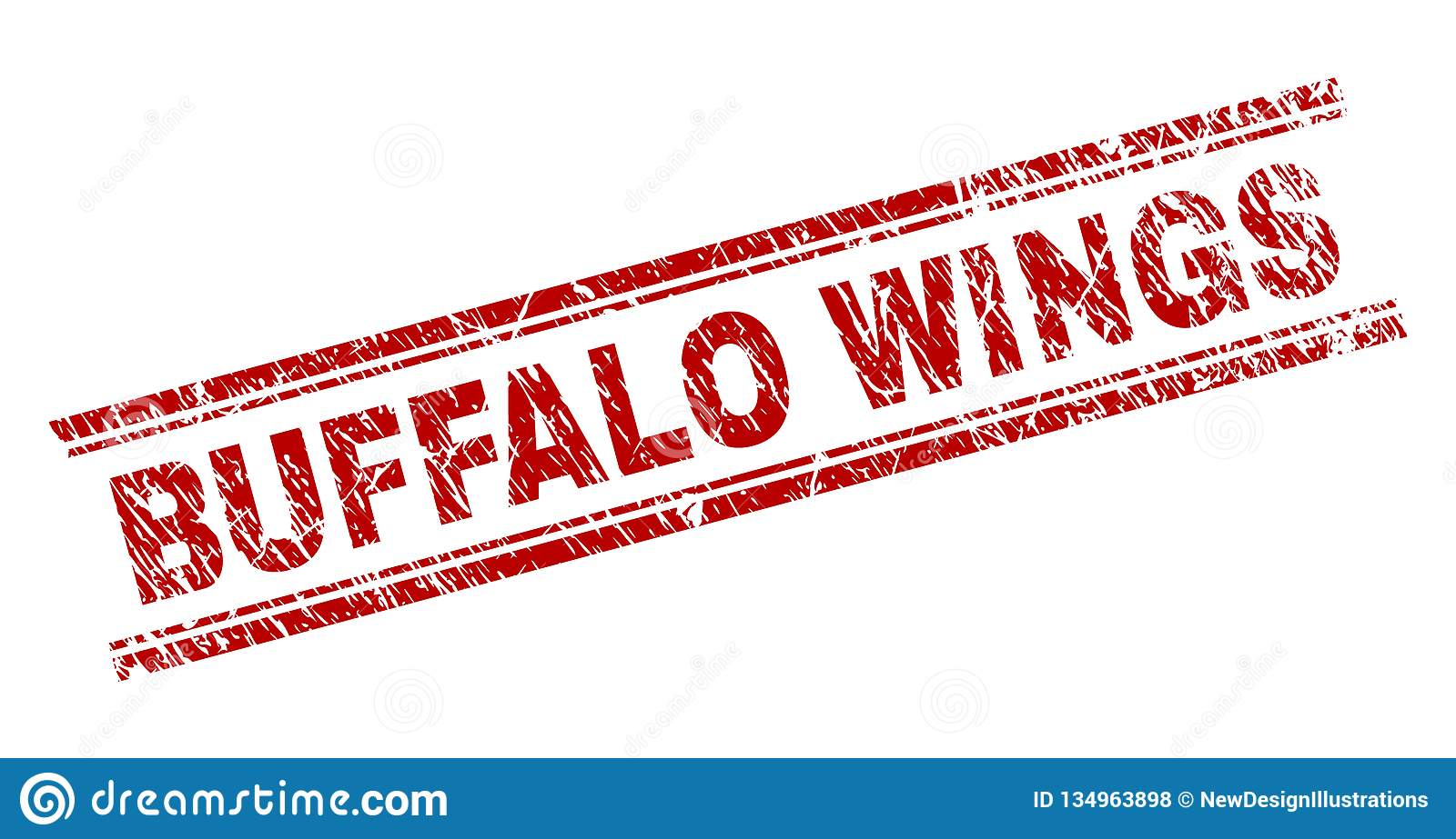 Scratched Textured BUFFALO WINGS Stamp Seal Stock Vector