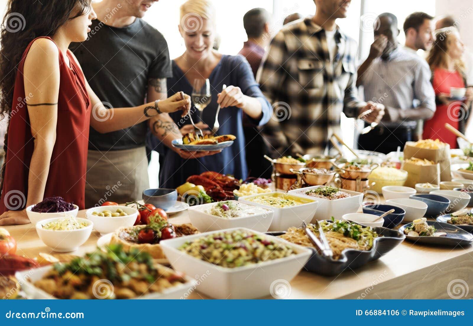 Buffet-Abendessen-Restaurant-Verpflegungs-Lebensmittel-Konzept