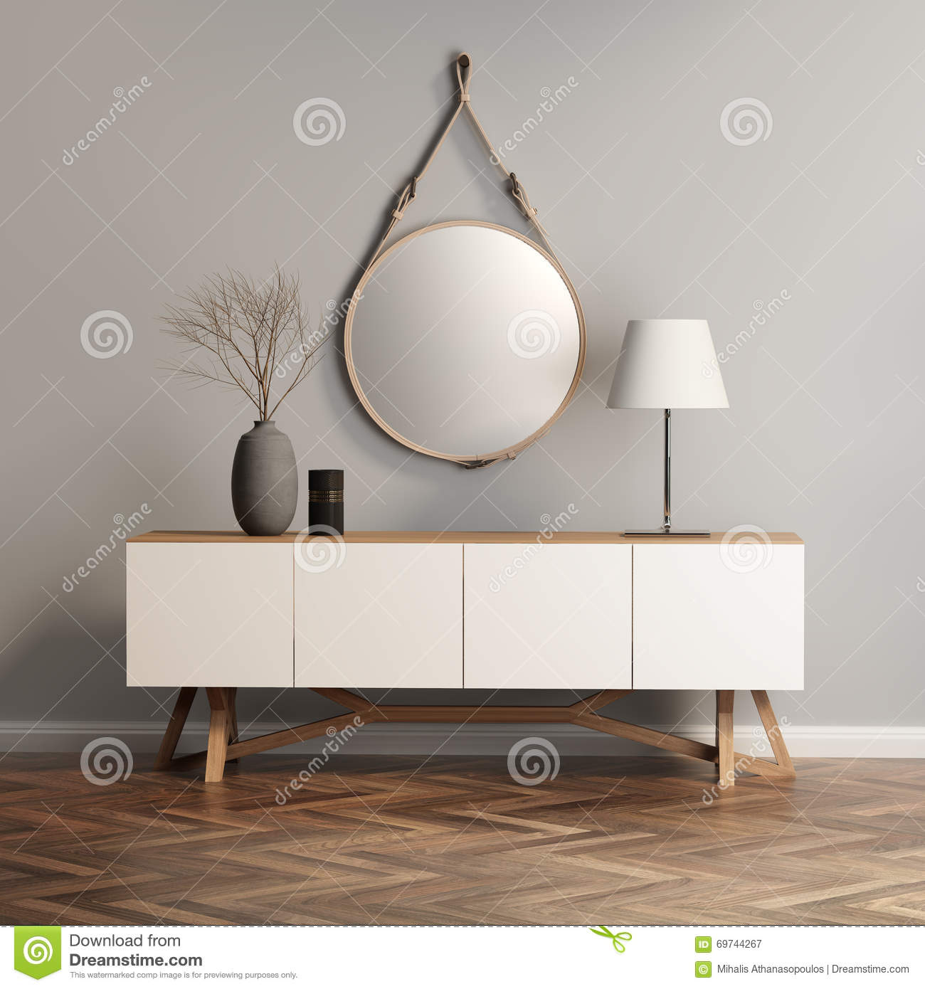 Buffet console table on grey wall stock illustration image buffet console table on grey wall geotapseo Choice Image