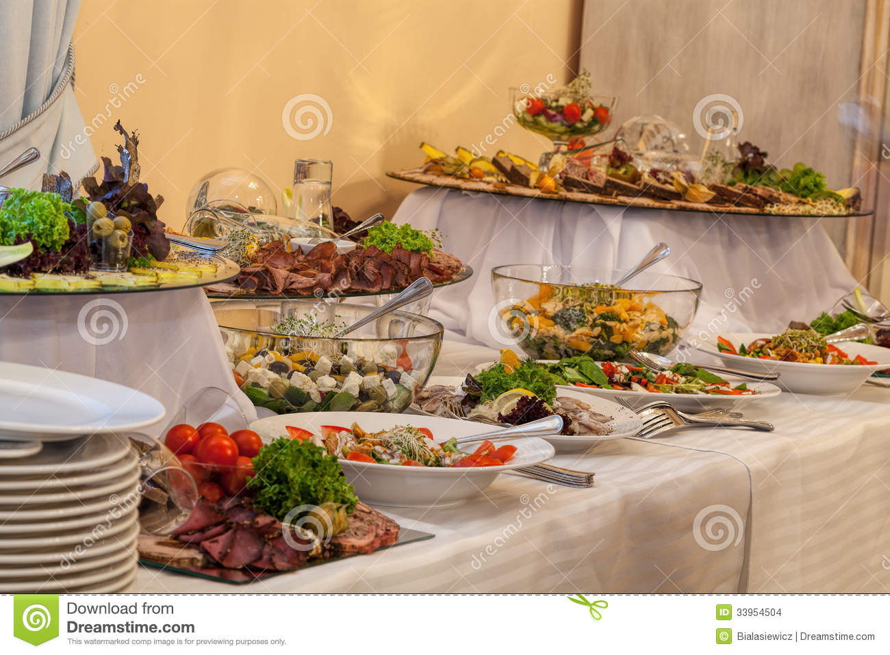 buffet with different appetizers stock images image 33954504. Black Bedroom Furniture Sets. Home Design Ideas
