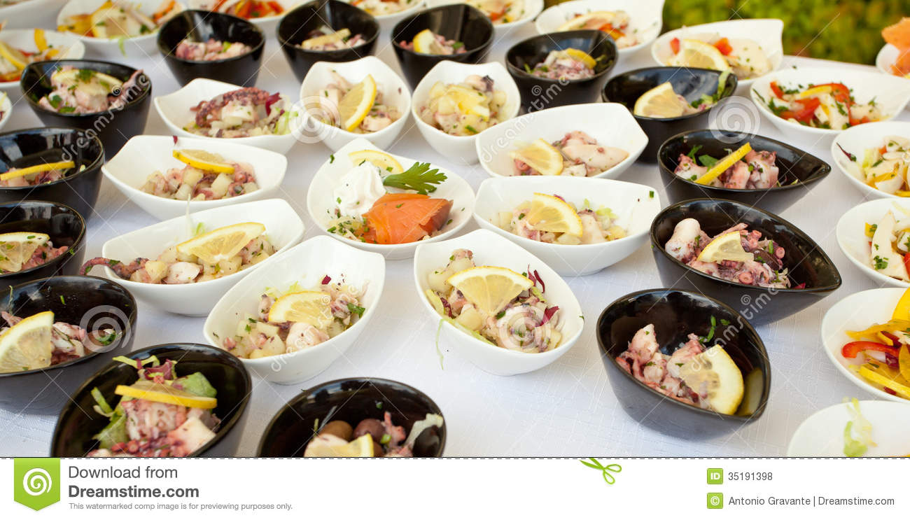 buffet of fish and shellfish finger food royalty free stock photos image 35191398. Black Bedroom Furniture Sets. Home Design Ideas