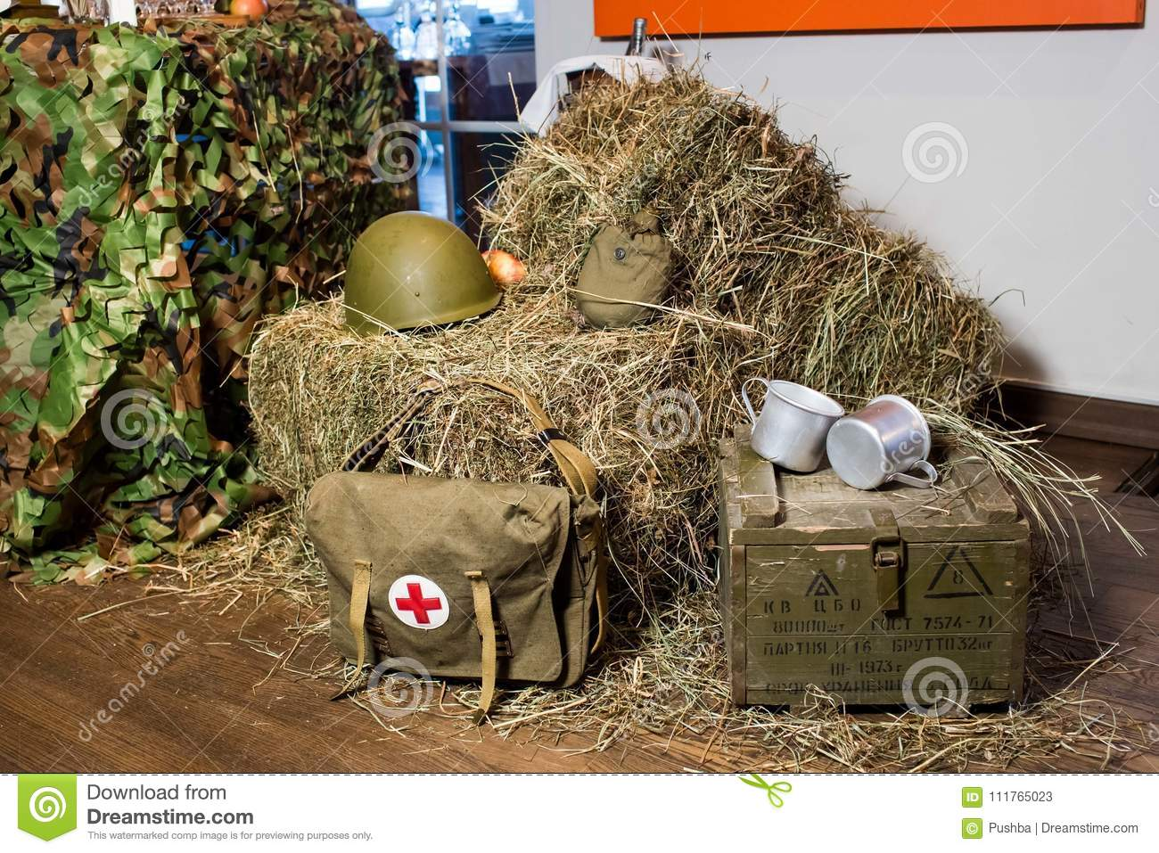 Buffet In The Form Of Military Field Cuisine: Hay, Military