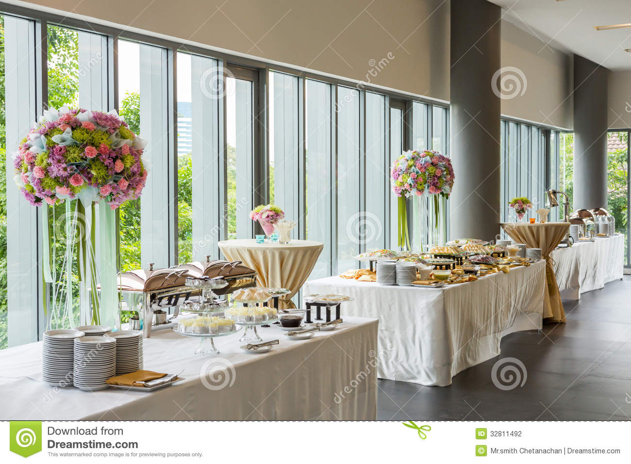 Buffet Line Stock Photo Image Of Morning Glass Catering 32811492