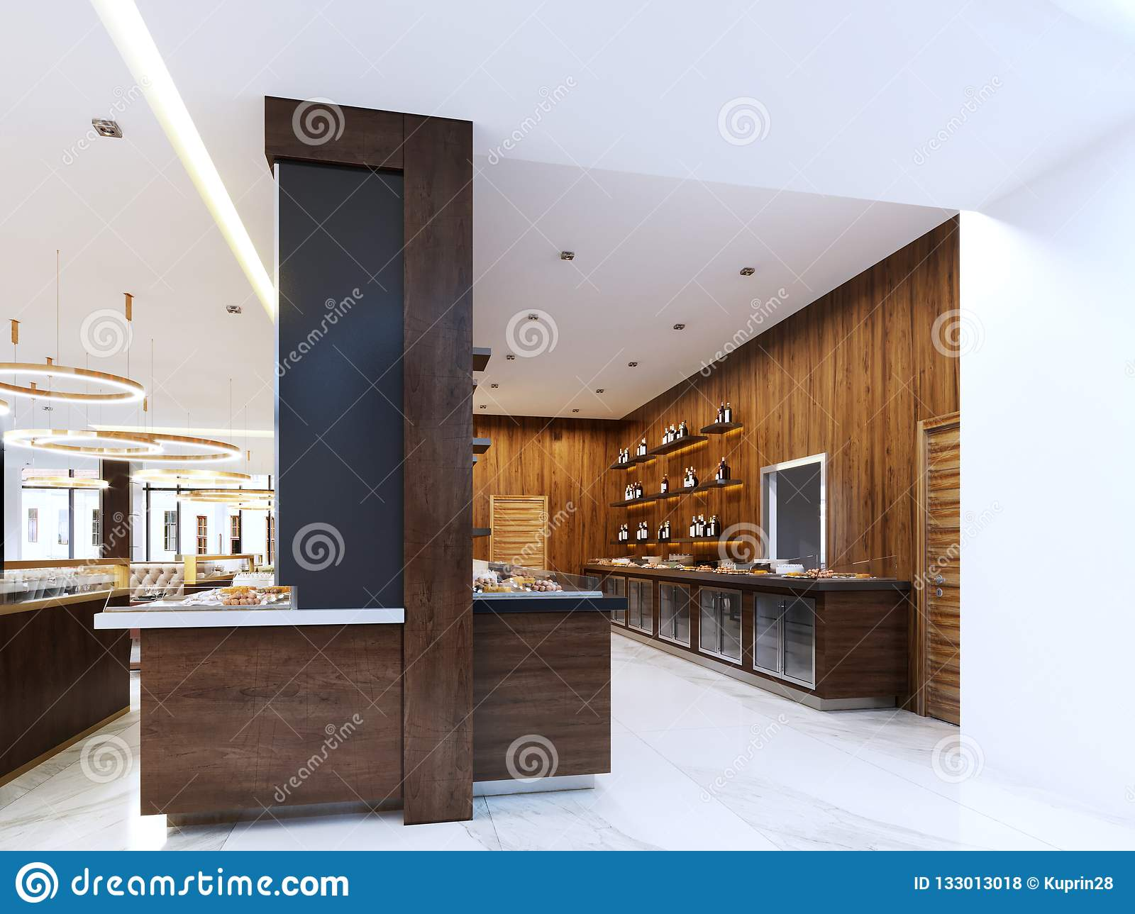 Buffet Modern Restaurant In Contemporary Style Cold Cabinets And Decorative Shelves With Bottles Restaurant Design Stock Illustration Illustration Of Dining Decorative 133013018